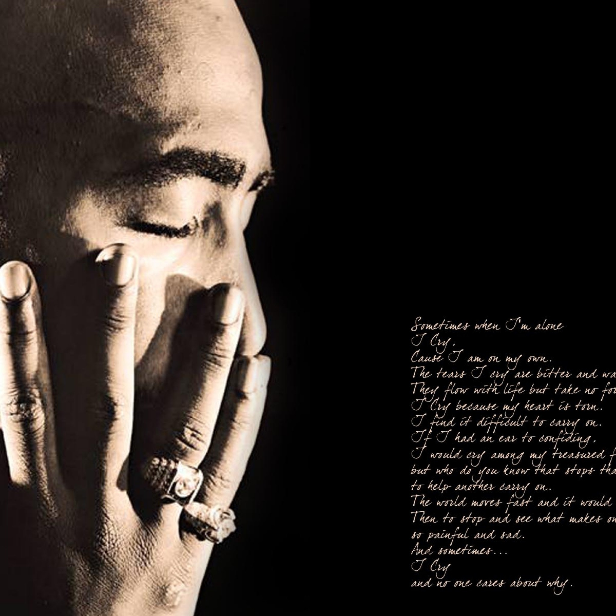 Preview wallpaper 2pac, poems, thouts, fingers, light 2048×2048