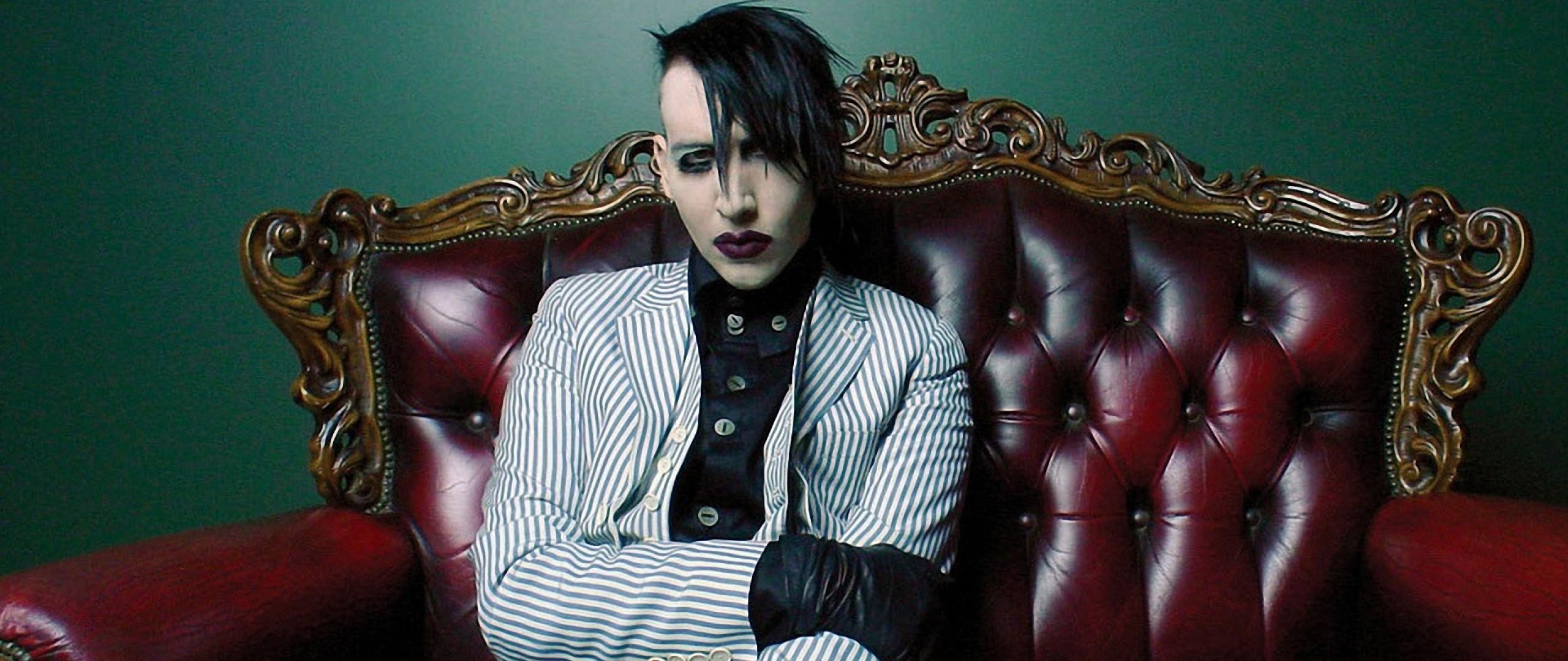 Wallpaper marilyn manson, makeup, image, armchair, lipstick