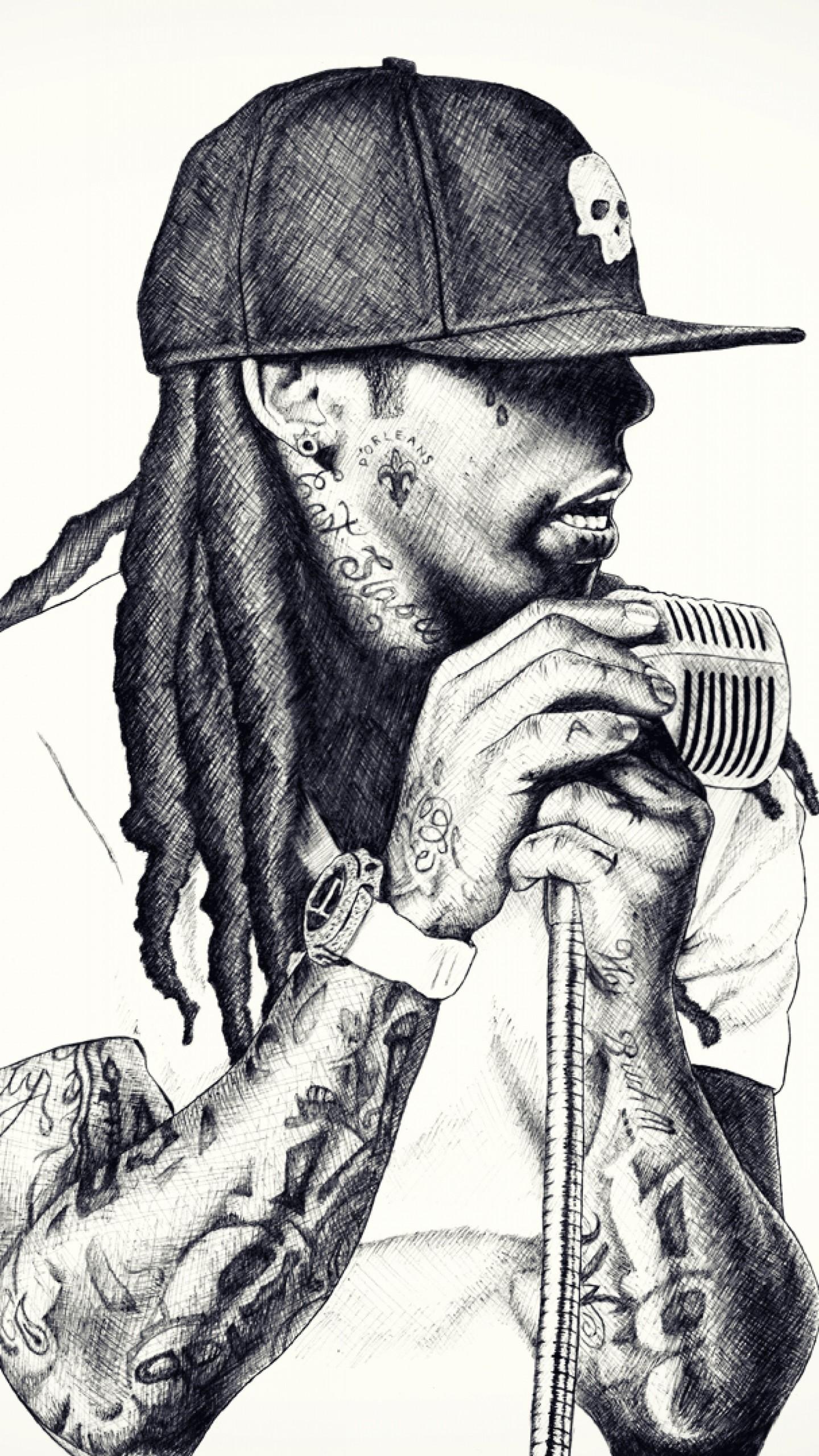 Preview wallpaper lil wayne, rap, singer, microphone, baseball cap,  dreadlocks 1440×2560