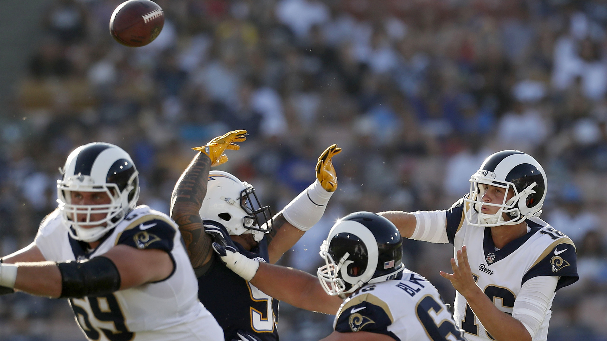 Jared Goff has two turnovers in Rams' exhibition loss to the Chargers – LA  Times