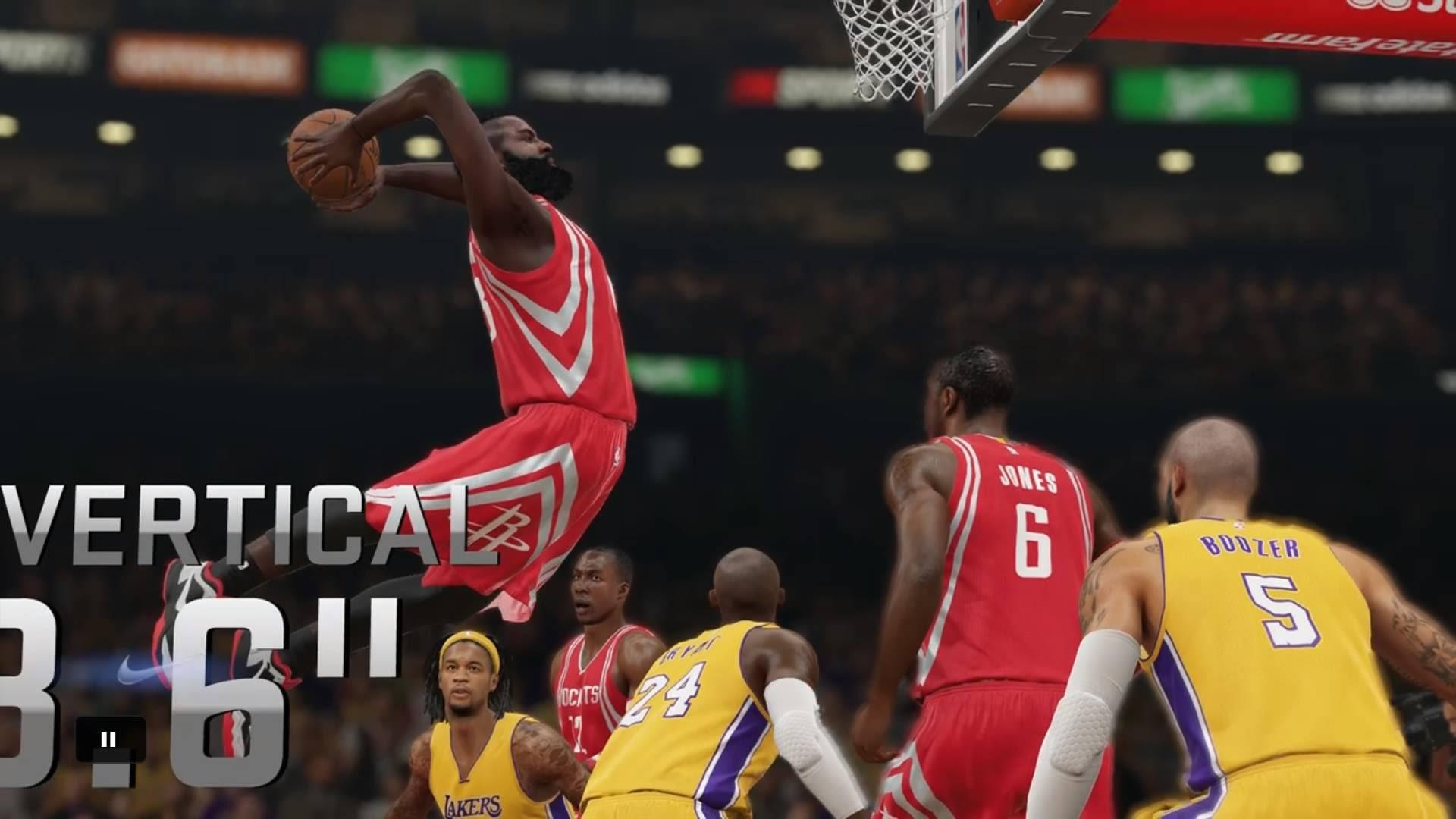 NBA 2K15 PS4 – Huge Dunk By James Harden – Houston Rockets vs LA