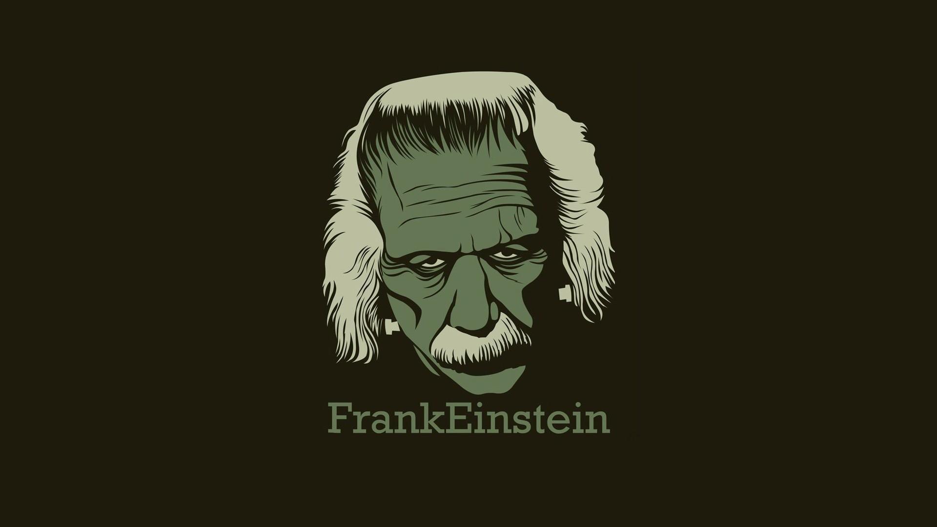 Albert Einstein Frankenstein Minimalistic Text