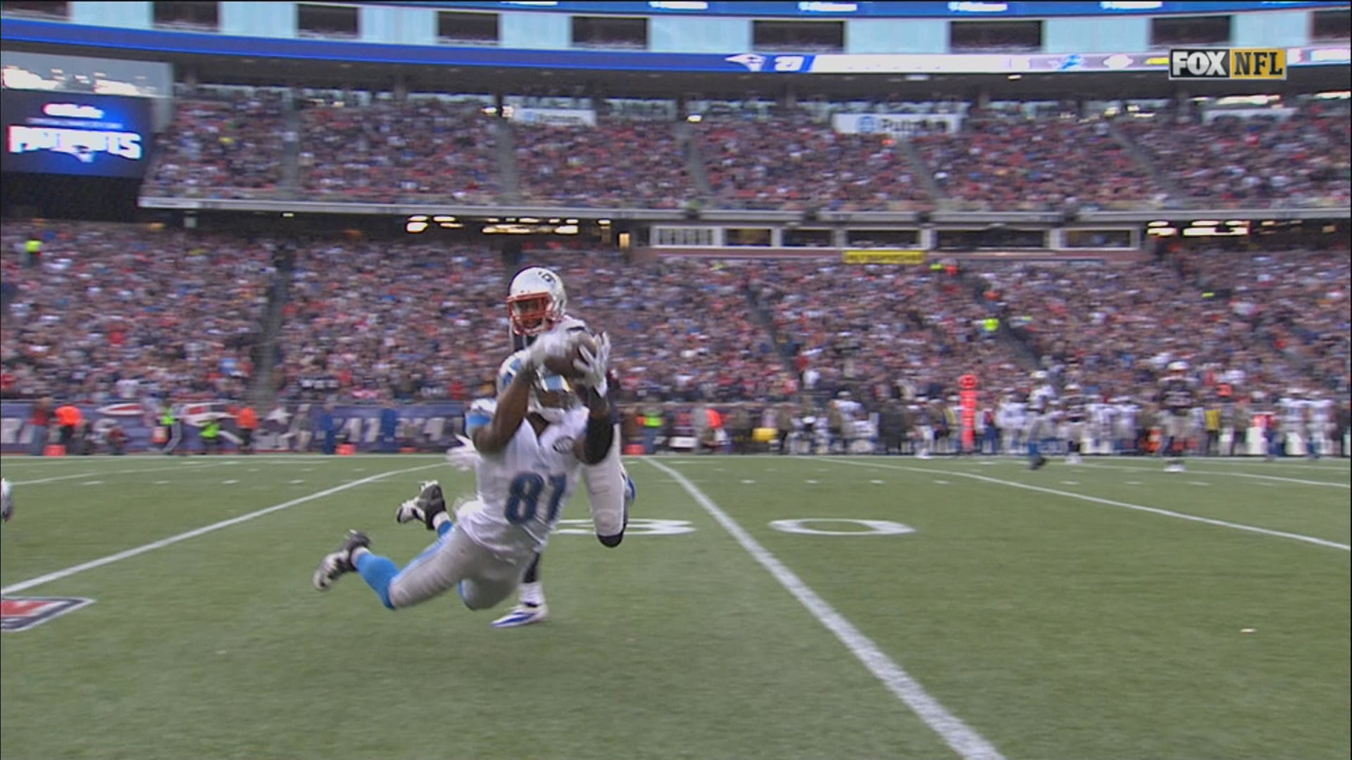 Calvin Johnston makes a great catch during Detroit Lions' visit to New  England