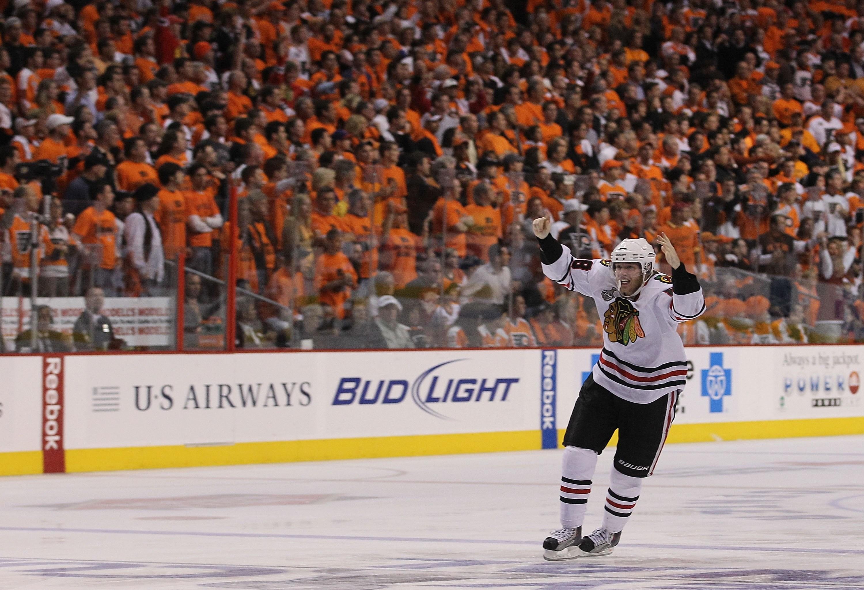 Blackhawks winger Patrick Kane after scoring the Stanley Cup-winning goal  in 2010. (