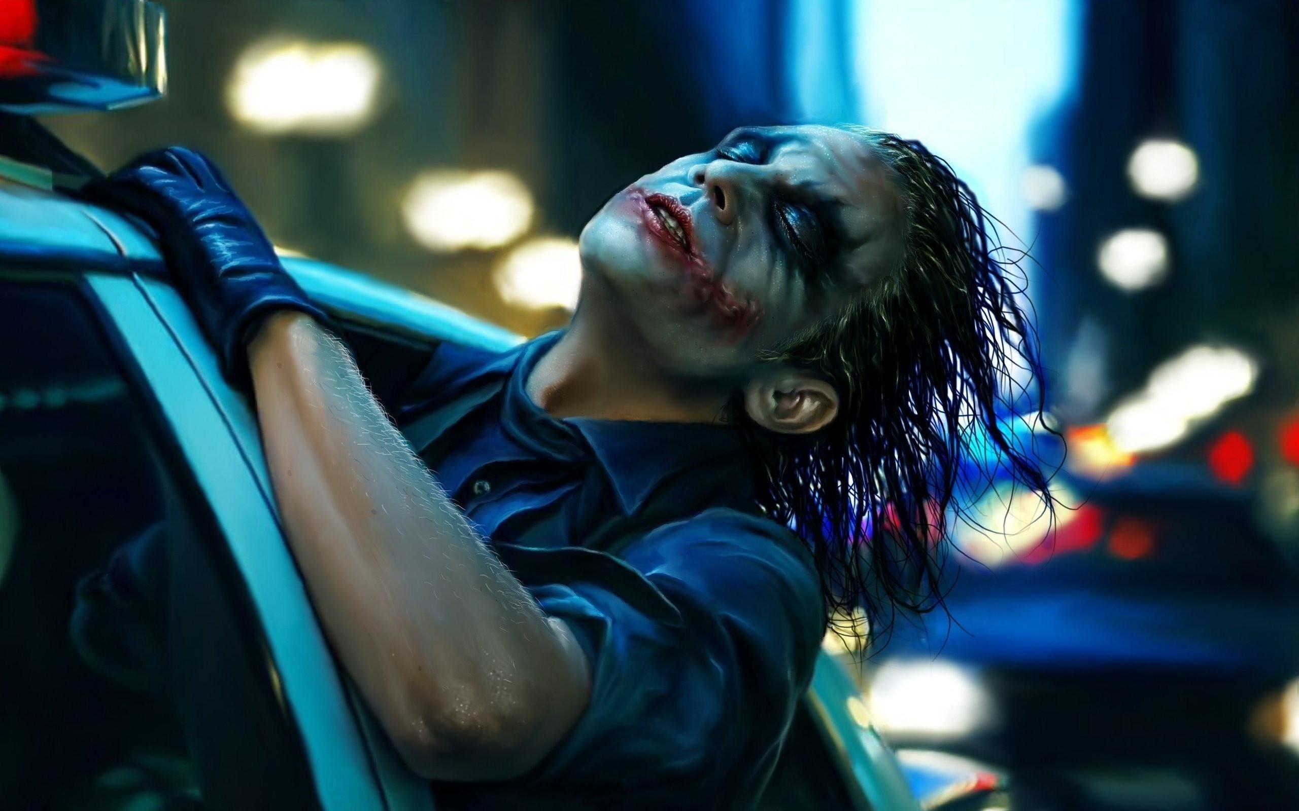 Shower Curtain Joker Heath Ledger Movie Art Blue Art by NikaLimArt,