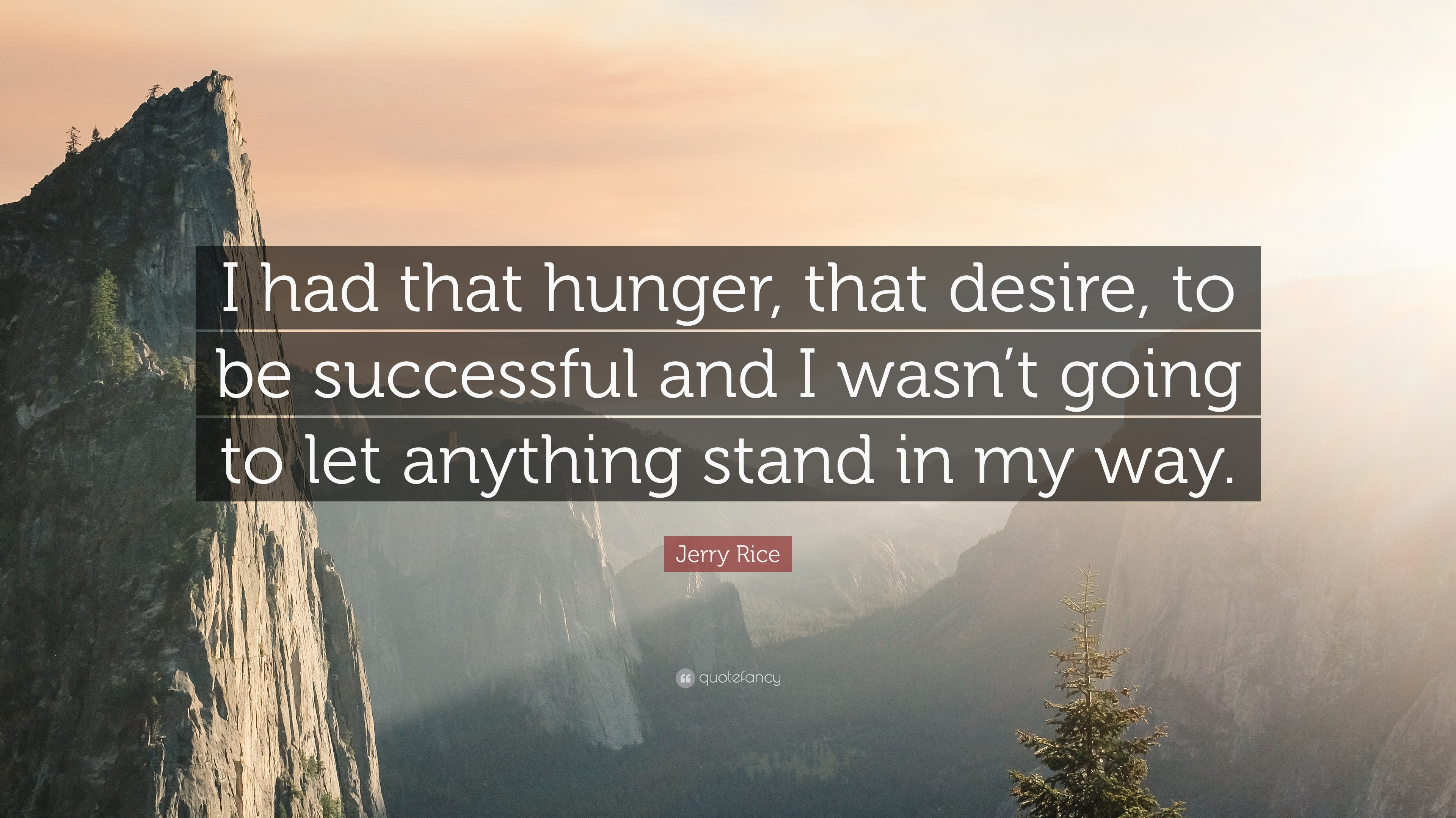 """Jerry Rice Quote: """"I had that hunger, that desire, to be successful"""