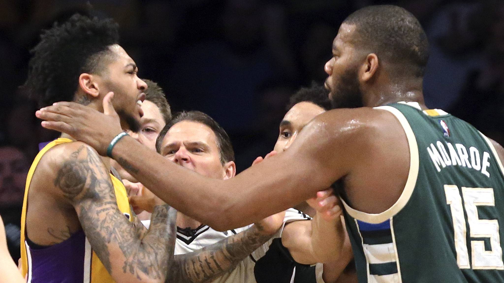Nick Young, D'Angelo Russell and Greg Monroe fined for Lakers-Bucks  altercation Friday – LA Times