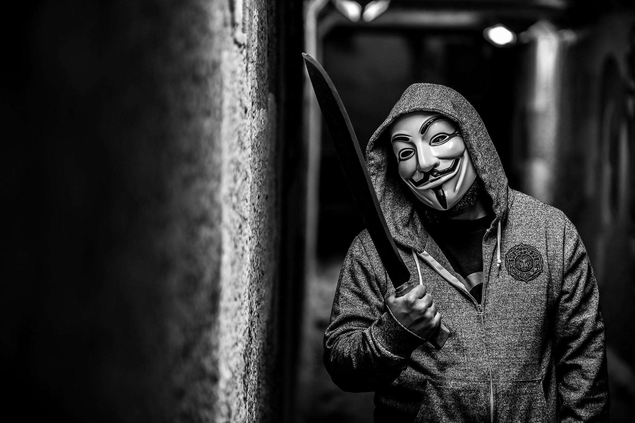 Download wallpaper anonymous, man, mask, machete, men resolution 2048×1365