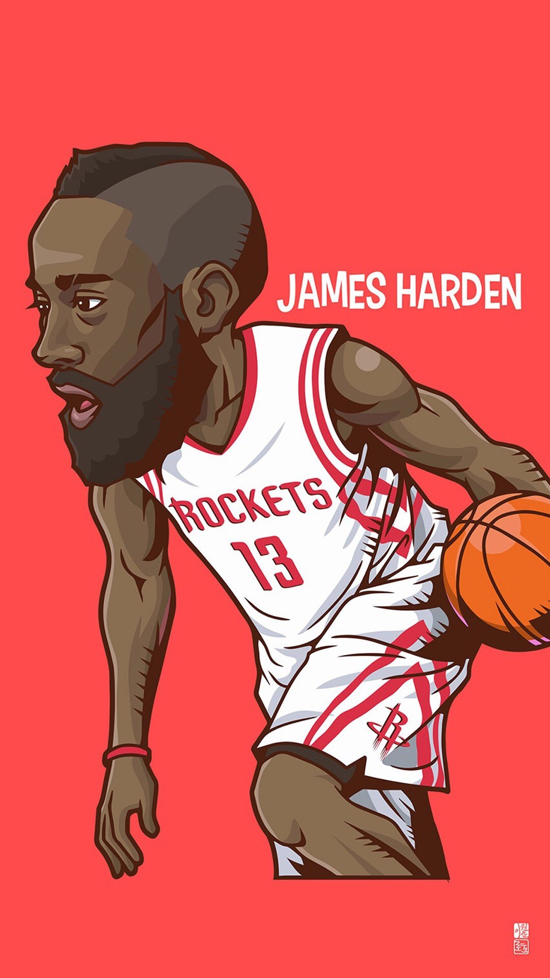 """Tap to see Collection of Famous NBA Basketball Players Cute Cartoon  Wallpapers for iPhone. – """"Fear the Beard"""""""