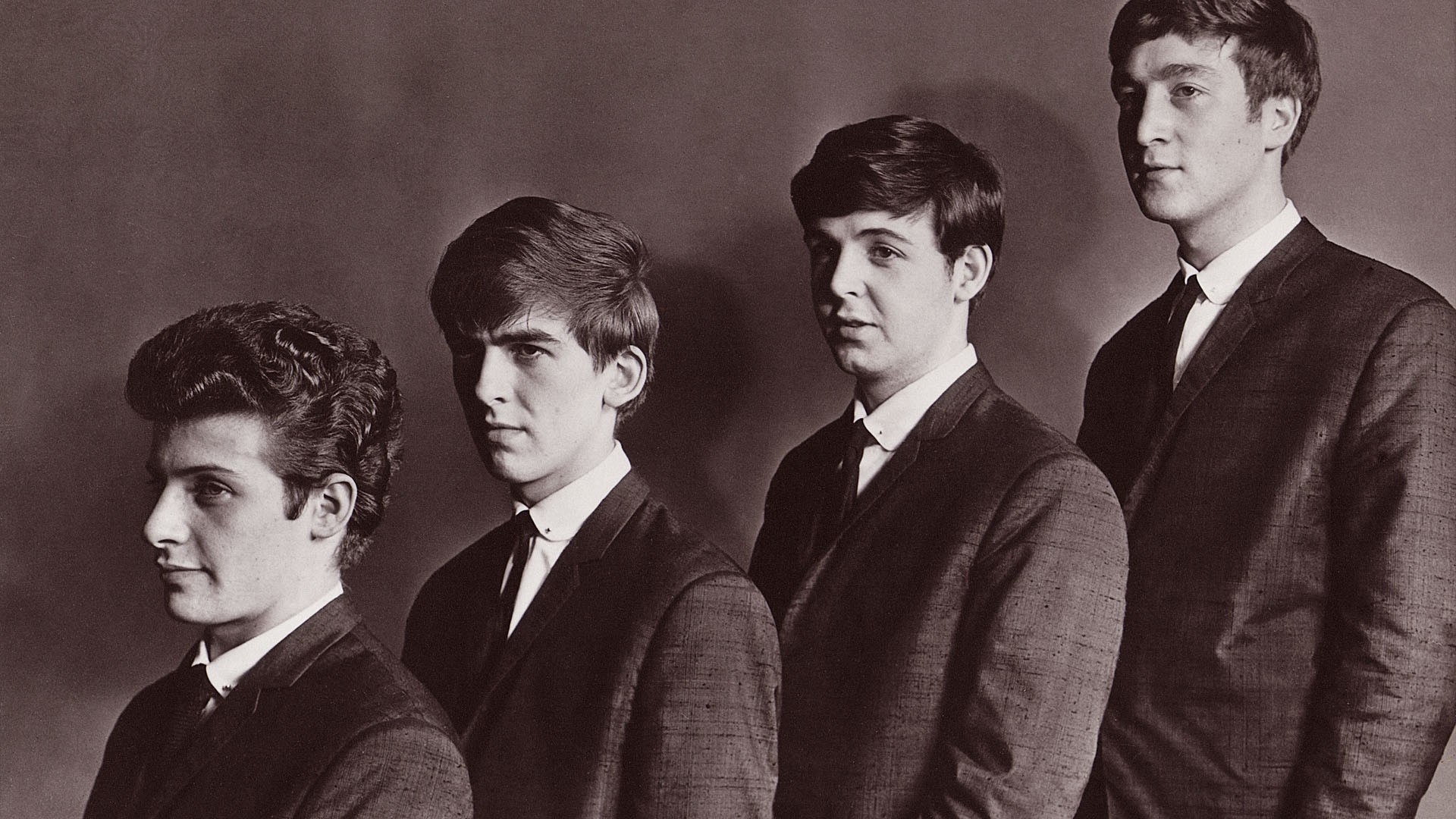 Preview wallpaper the beatles, band, faces, suits, ties 1920×1080