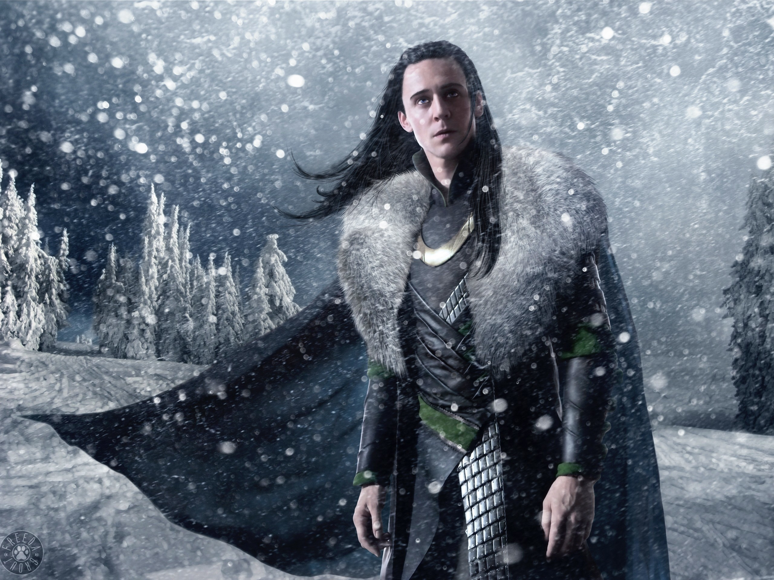 Snow trees cgi long hair artwork marvel comics loki tom hiddleston fan art  armour thor (