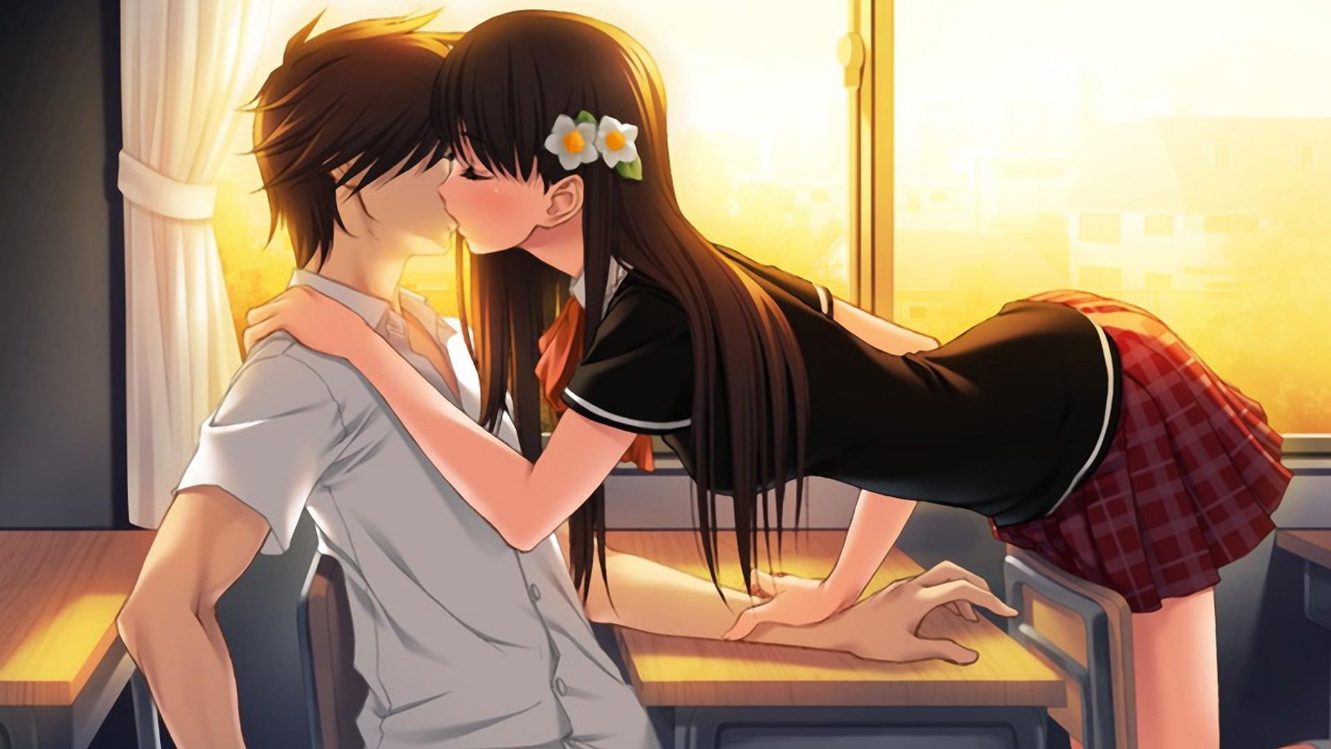 Preview wallpaper boy, girl, kiss, tenderness, dawn 1920×1080