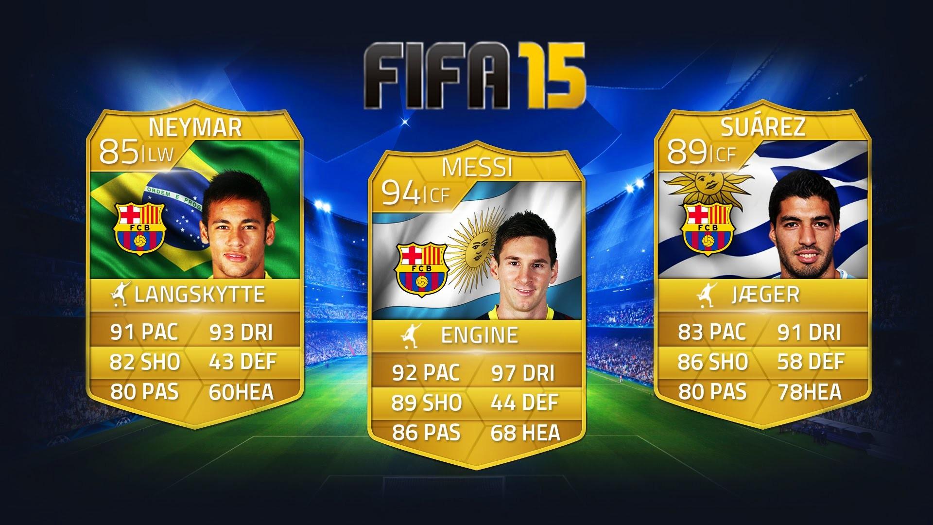 FIFA 15 – SPILLERVURDERING FORUDSIGELSER – EPISODE 1 Med MESSI, SUAREZ og  NEYMAR