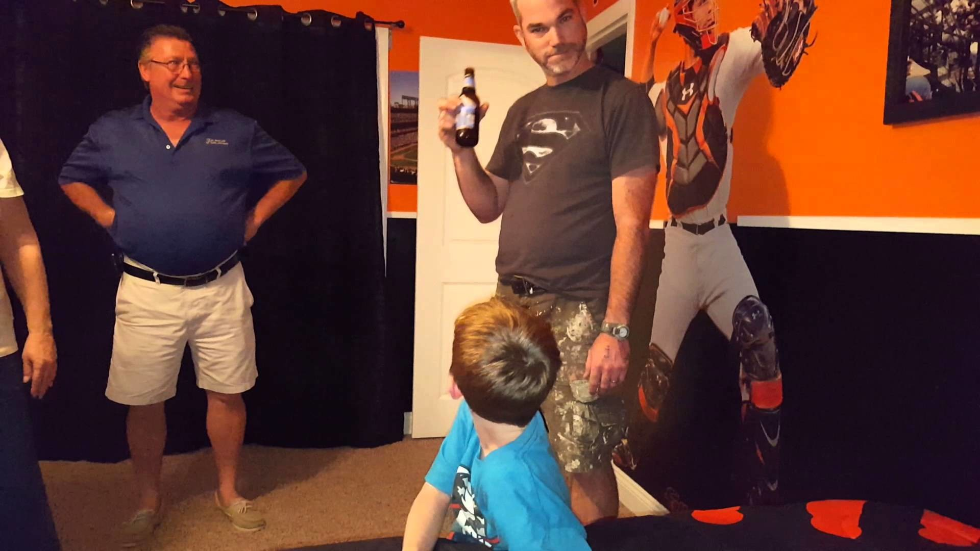 Life size Buster Posey room reveal for 8 year old super fan, a reaction you  won't want to miss!