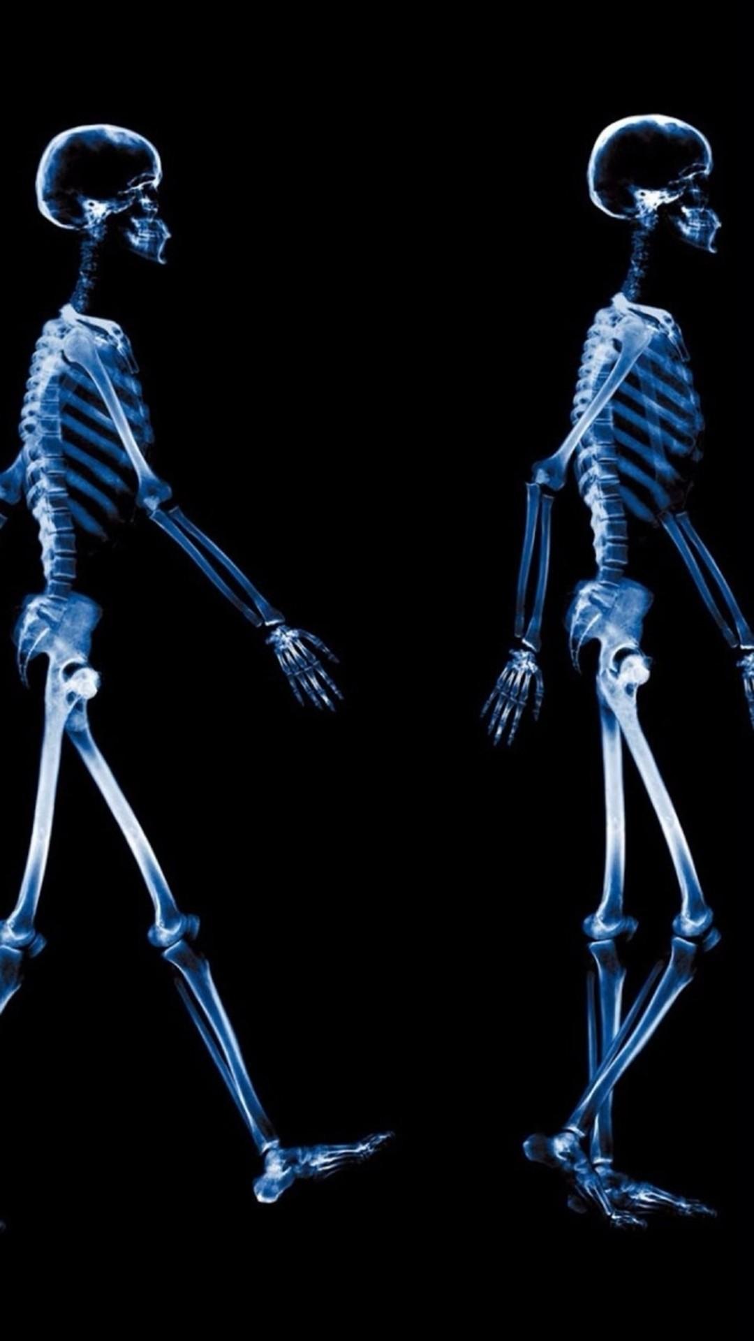 Abstract Xray Walking Human Skeleton Dark #iPhone #6 #wallpaper