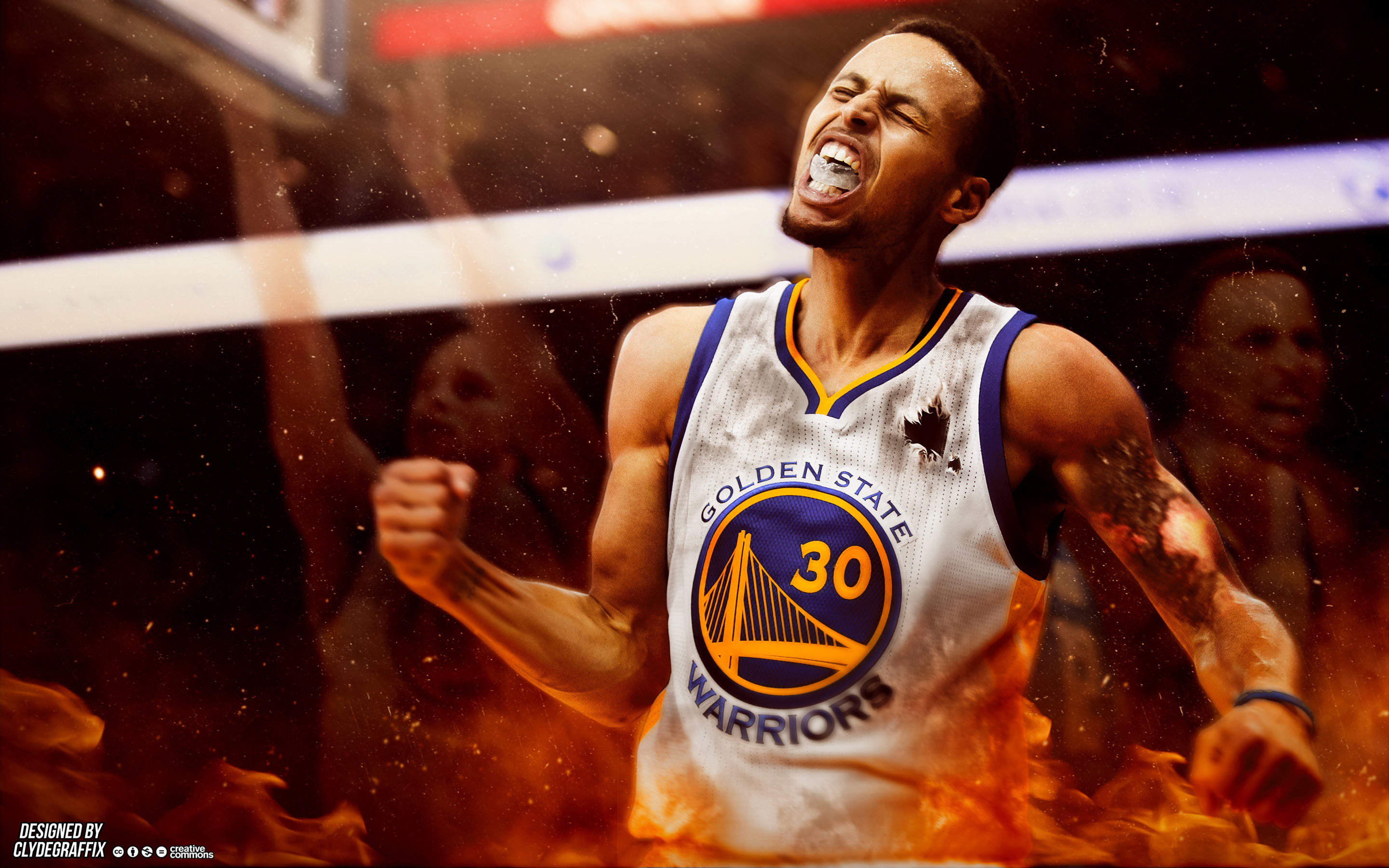 Stephen Curry On Fire Wallpaper
