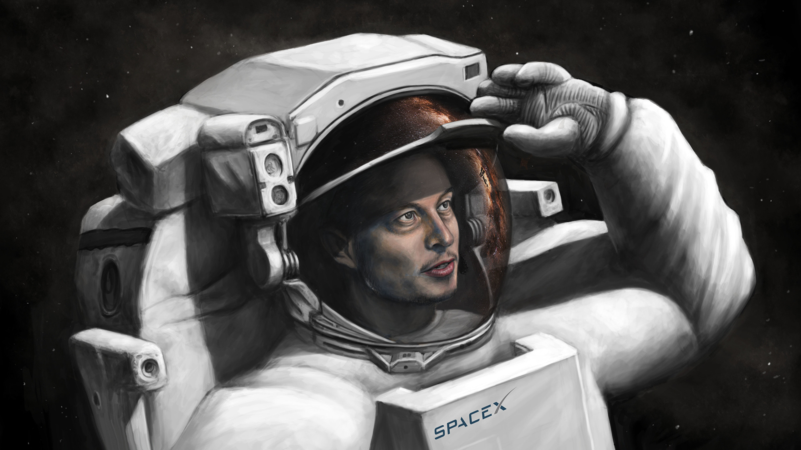 Image Cosmonauts Elon Musk, SpaceX Space Painting Art 2560×1440