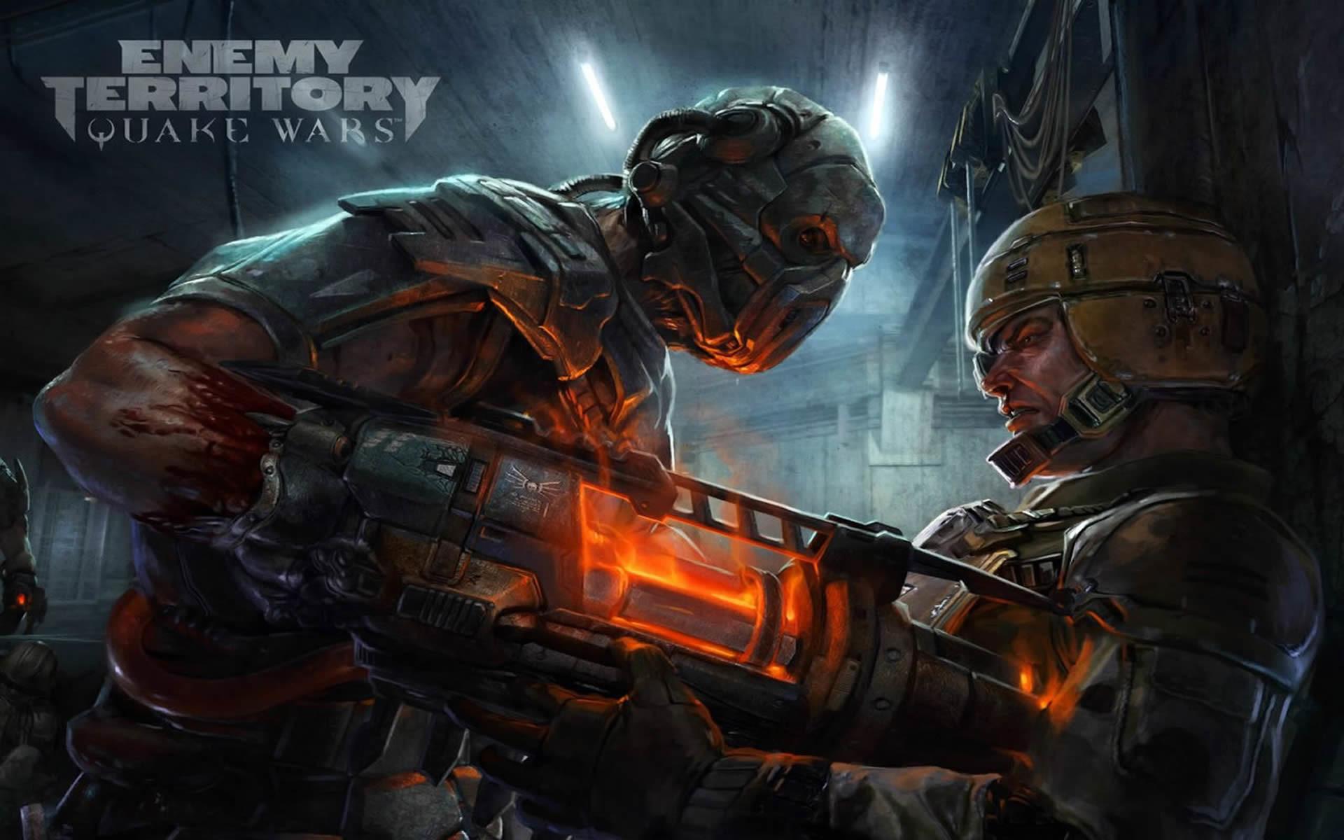 Strogg Soldier Pins Back Gdf Marine – Quake Wars Enemy .