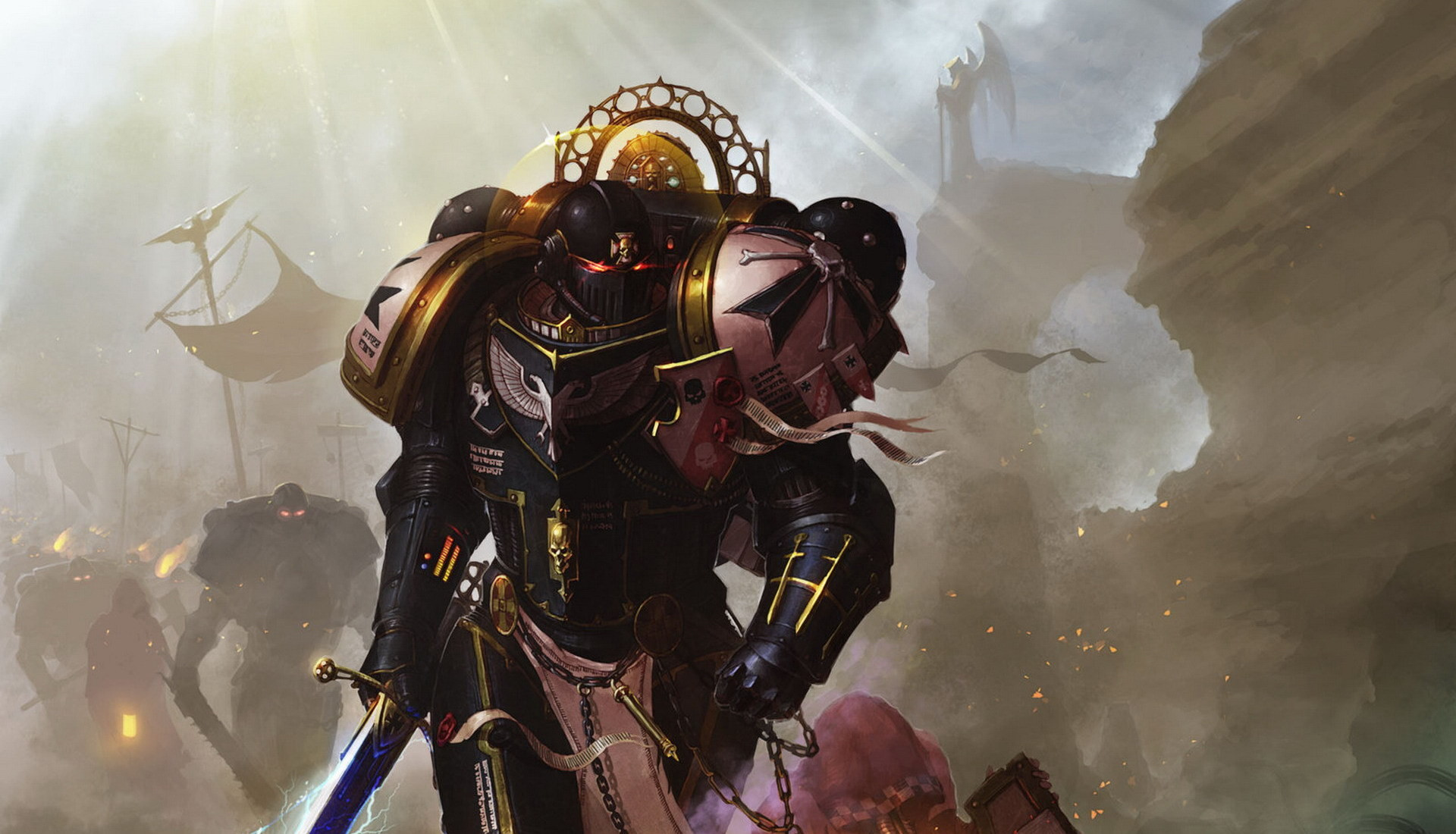 Wallpaper Warhammer, Warhammer 40k, Space marines, Black templars, Imperors  champion