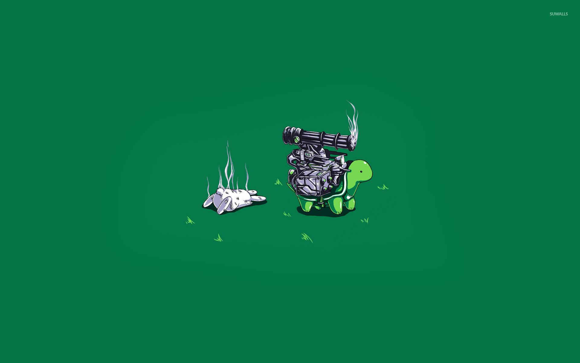 Armed turtle against the rabbit wallpaper jpg