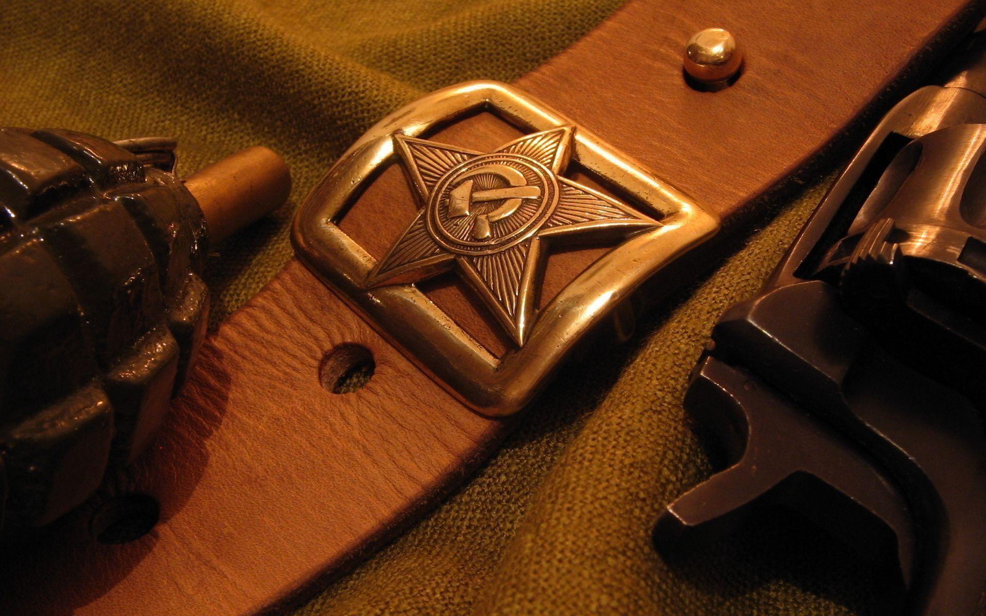 Belt badge star USSR grenade F1 lemon pistol revolver military r .