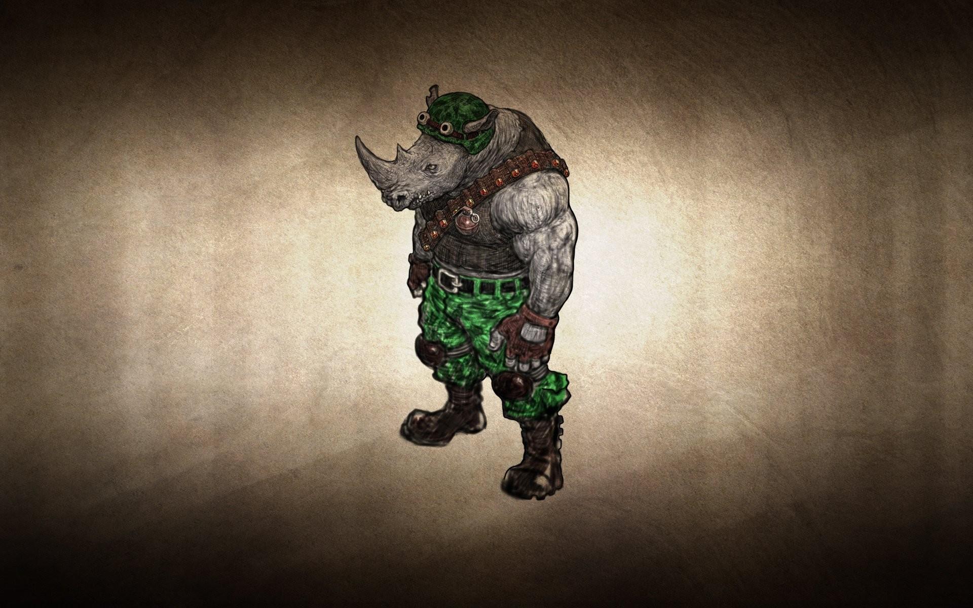 rhinoceros clothing grenade dusky background tmnt teenage mutant ninja  turtles rocksteady