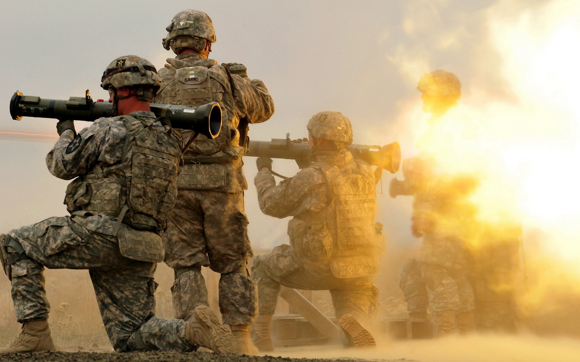 The soldiers fired from grenade launchers