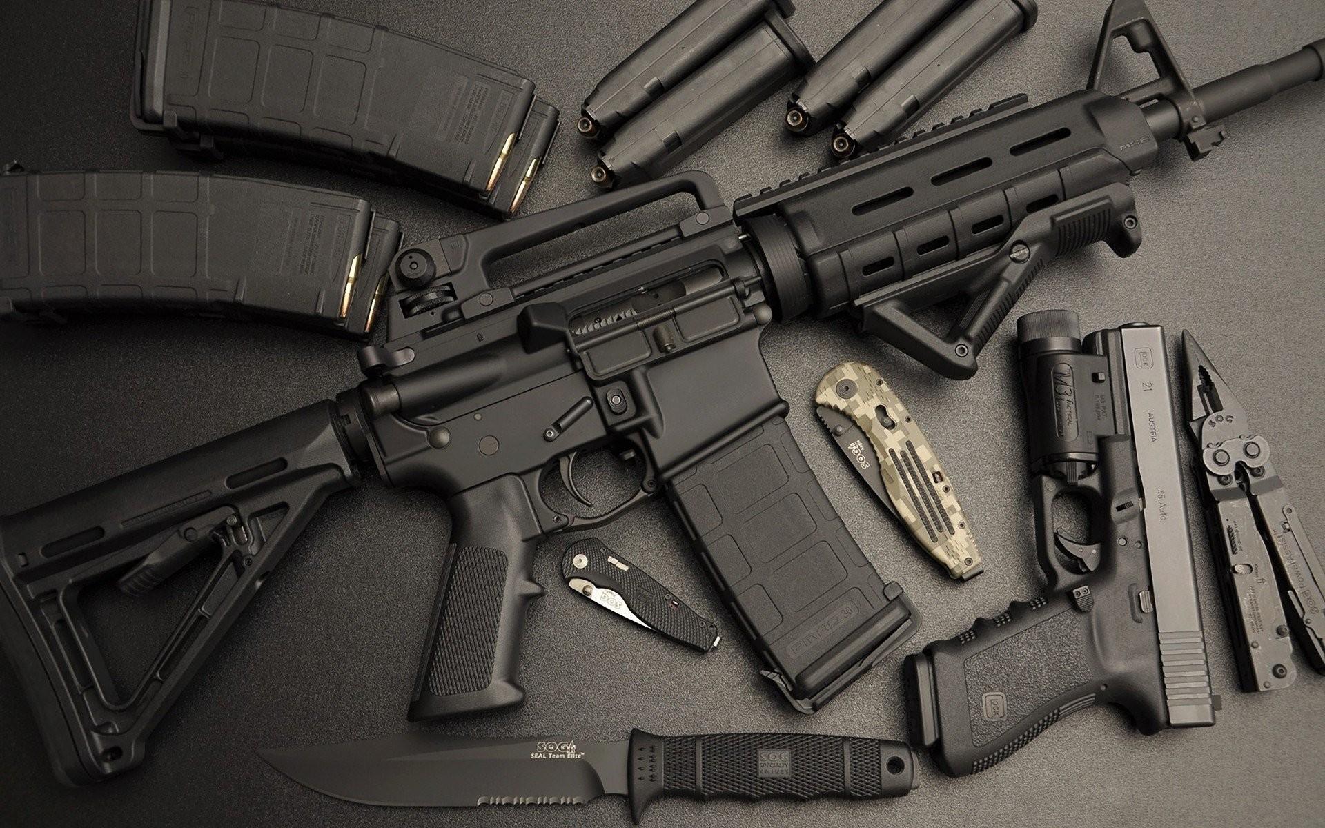ar-15 machine assault rifle gun knife