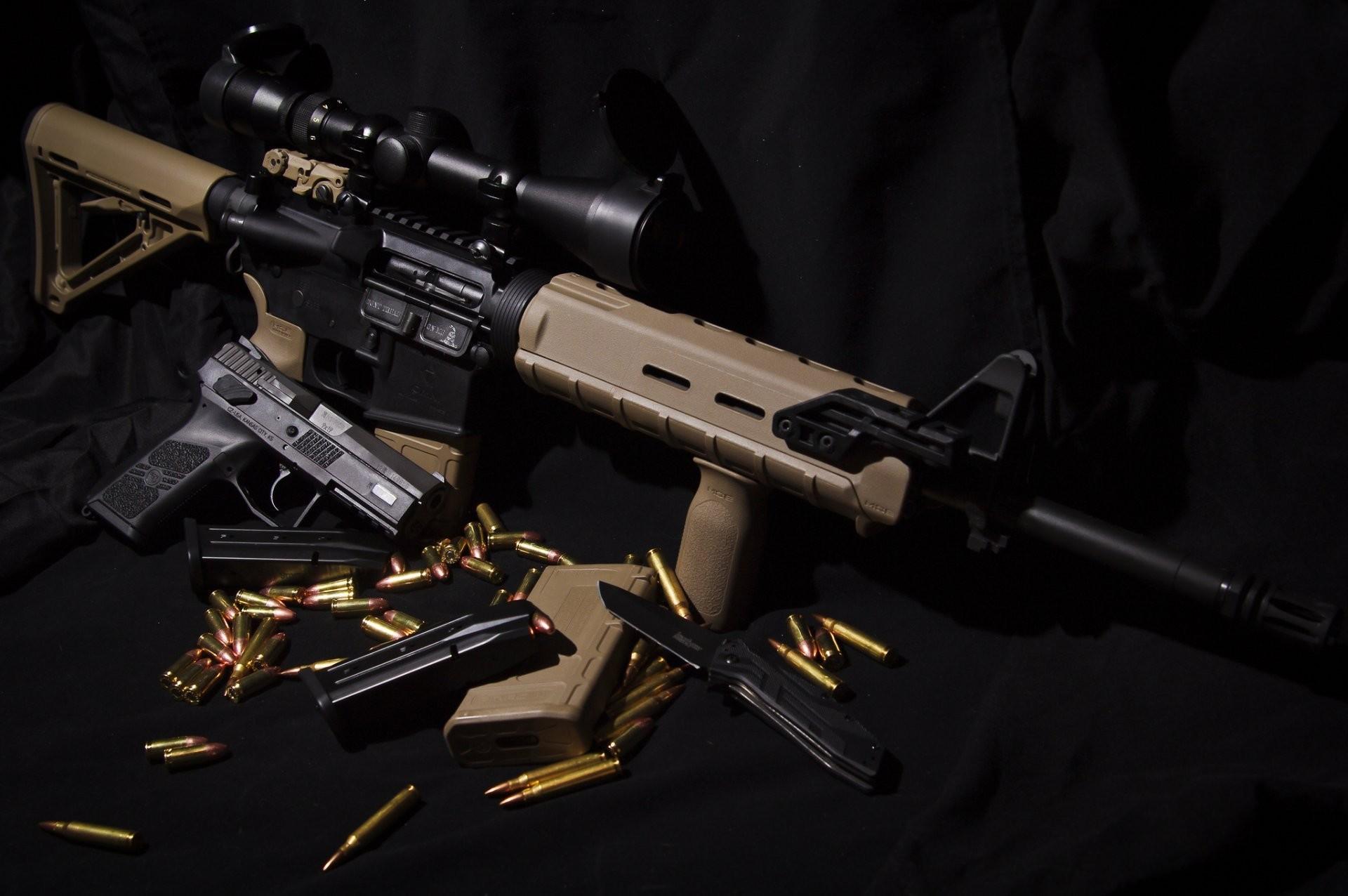 ar-15 assault rifle cz p-07 gun knife weapon