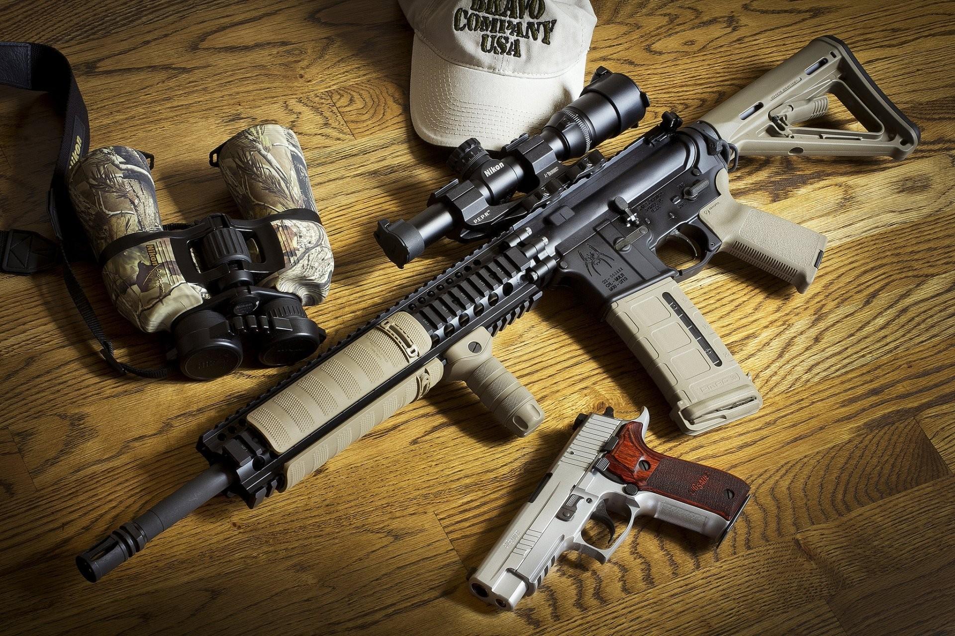 sig p226 gun ar-15 bcm assault rifle glasses weapon