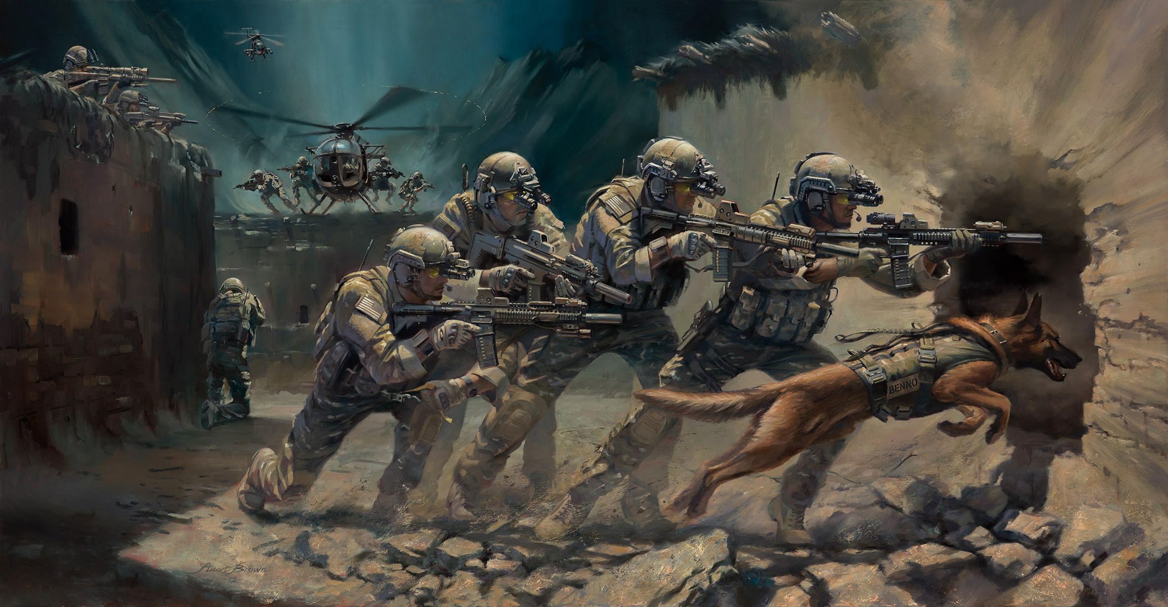 Download wallpaper art, soldiers, special forces, assault rifles, weapons,  equipment,