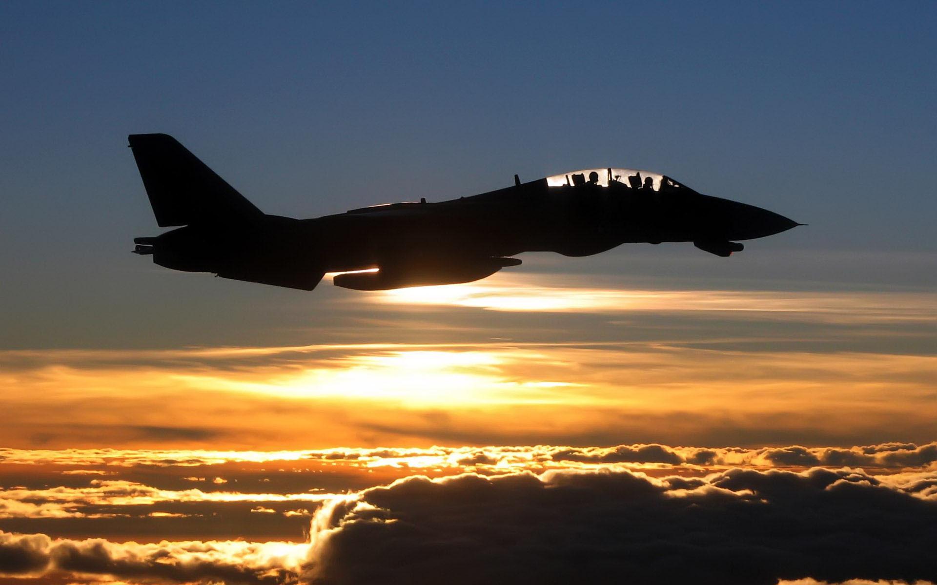 Grumman F-14 Tomcat sunset silhouette wallpaper