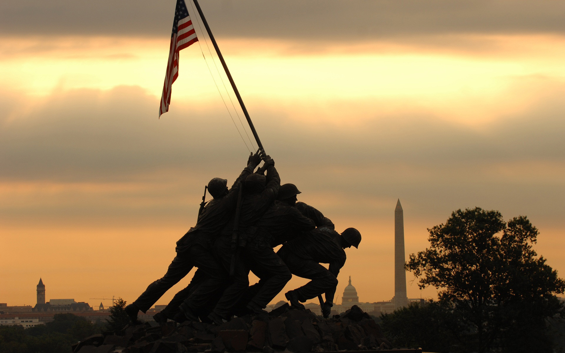 Marine Corps War Memorial Iwo Jima Memorial computer desktop wallpaper .