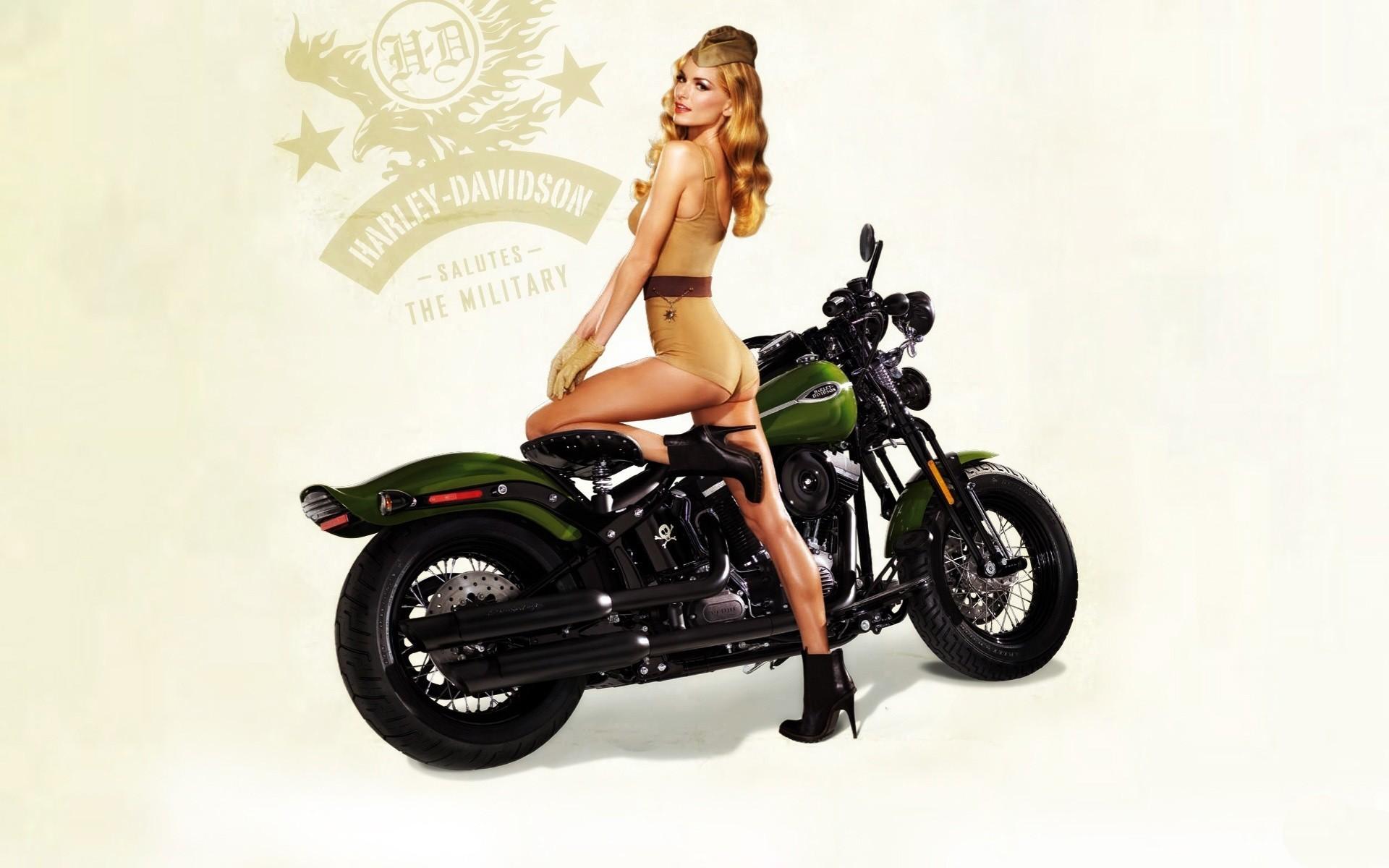 blondes women motorbike vintage pinup harley davidson army girls  wallpaper of-PhotoBoats.