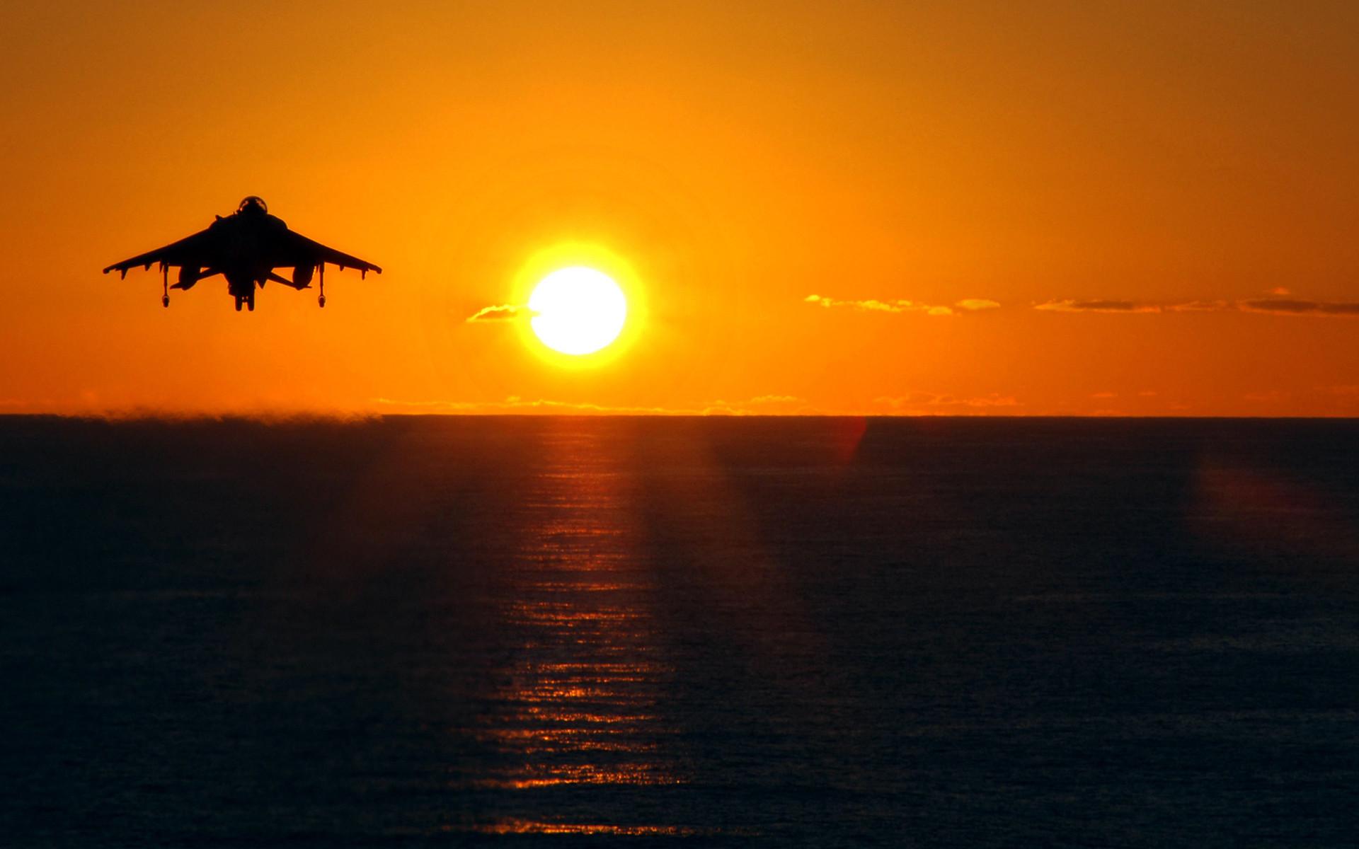 Aircraft AV-8B Harrier Military Sunrise US Marines Corps …