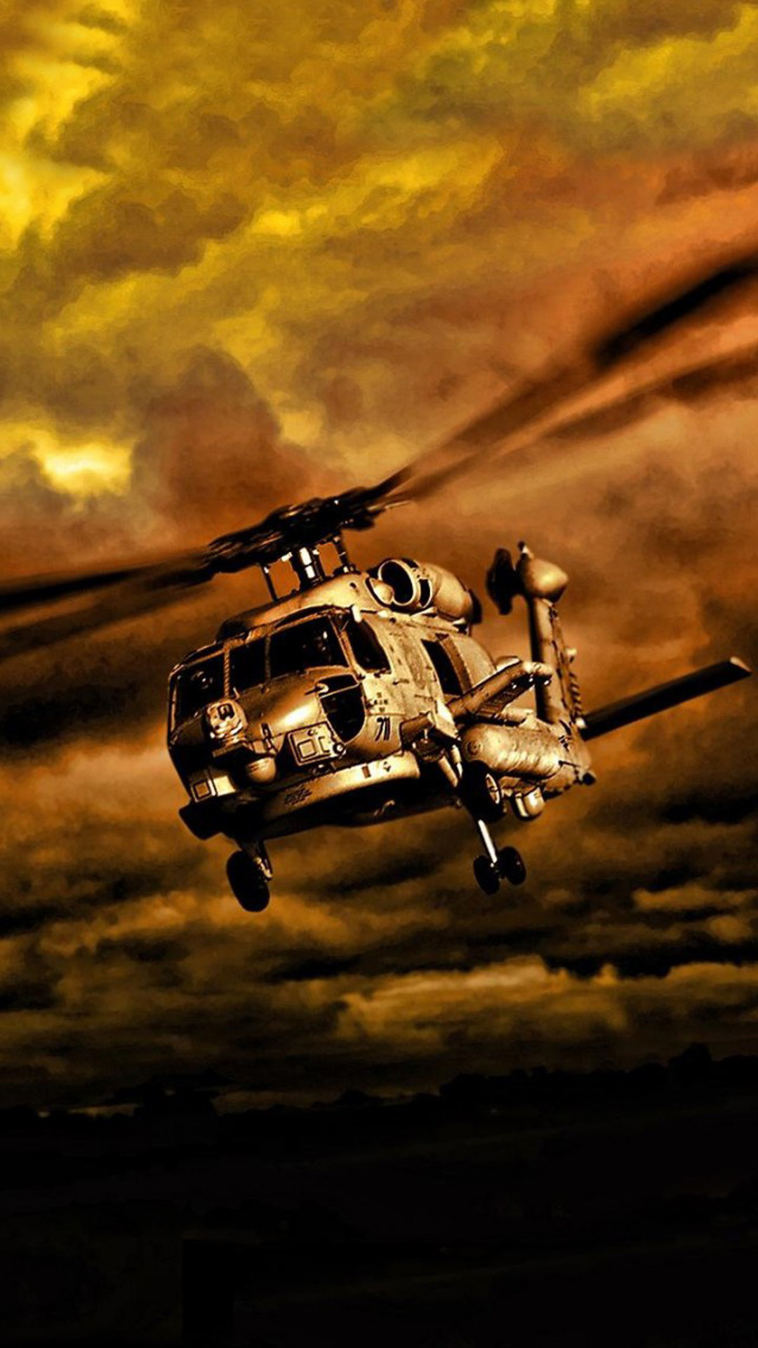 War Helicopters In Cloudy Sky #iPhone #6 #plus #wallpaper