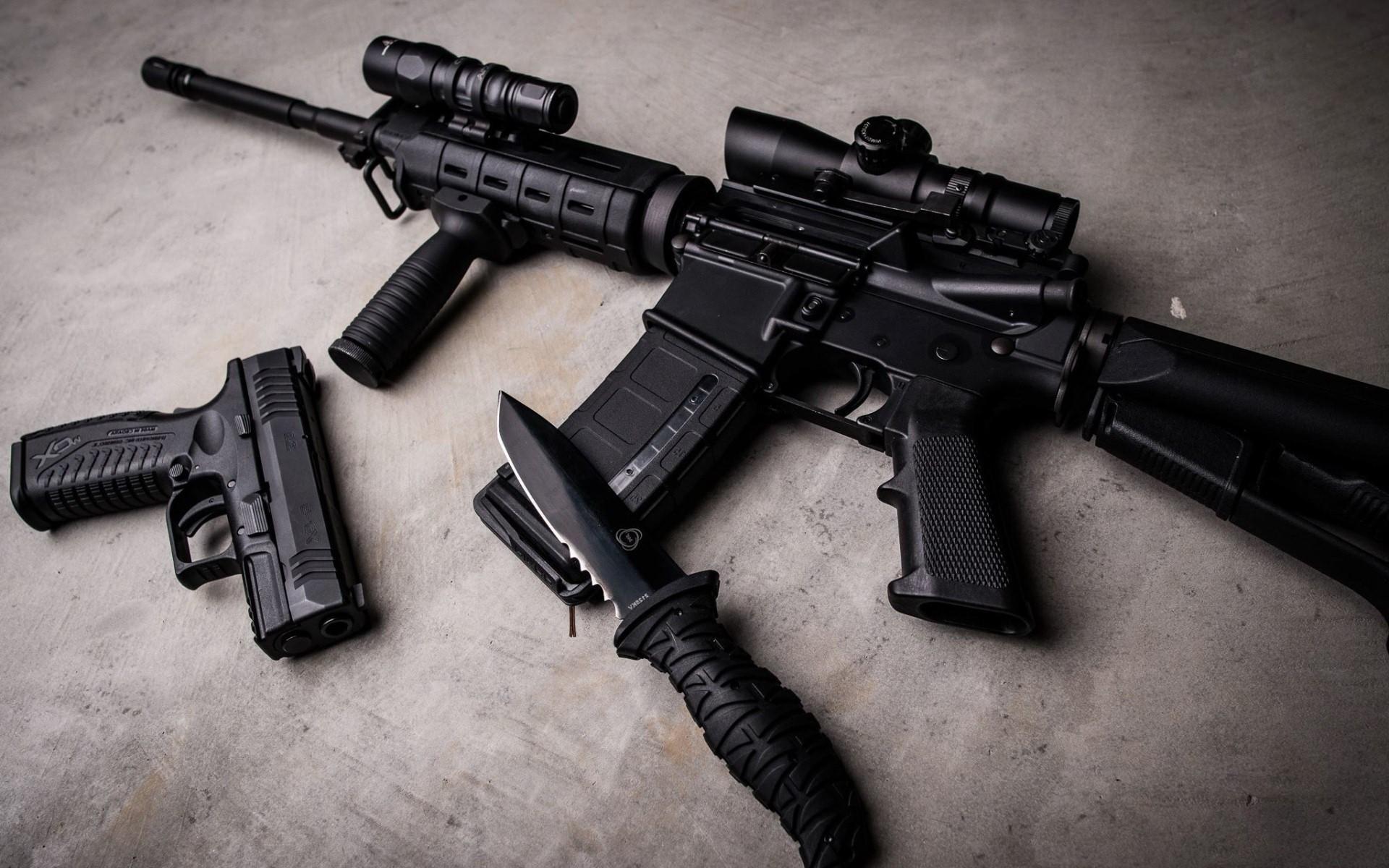 AK 47 Pistol and Knife Black Weapons HD Desktop Wallpaper