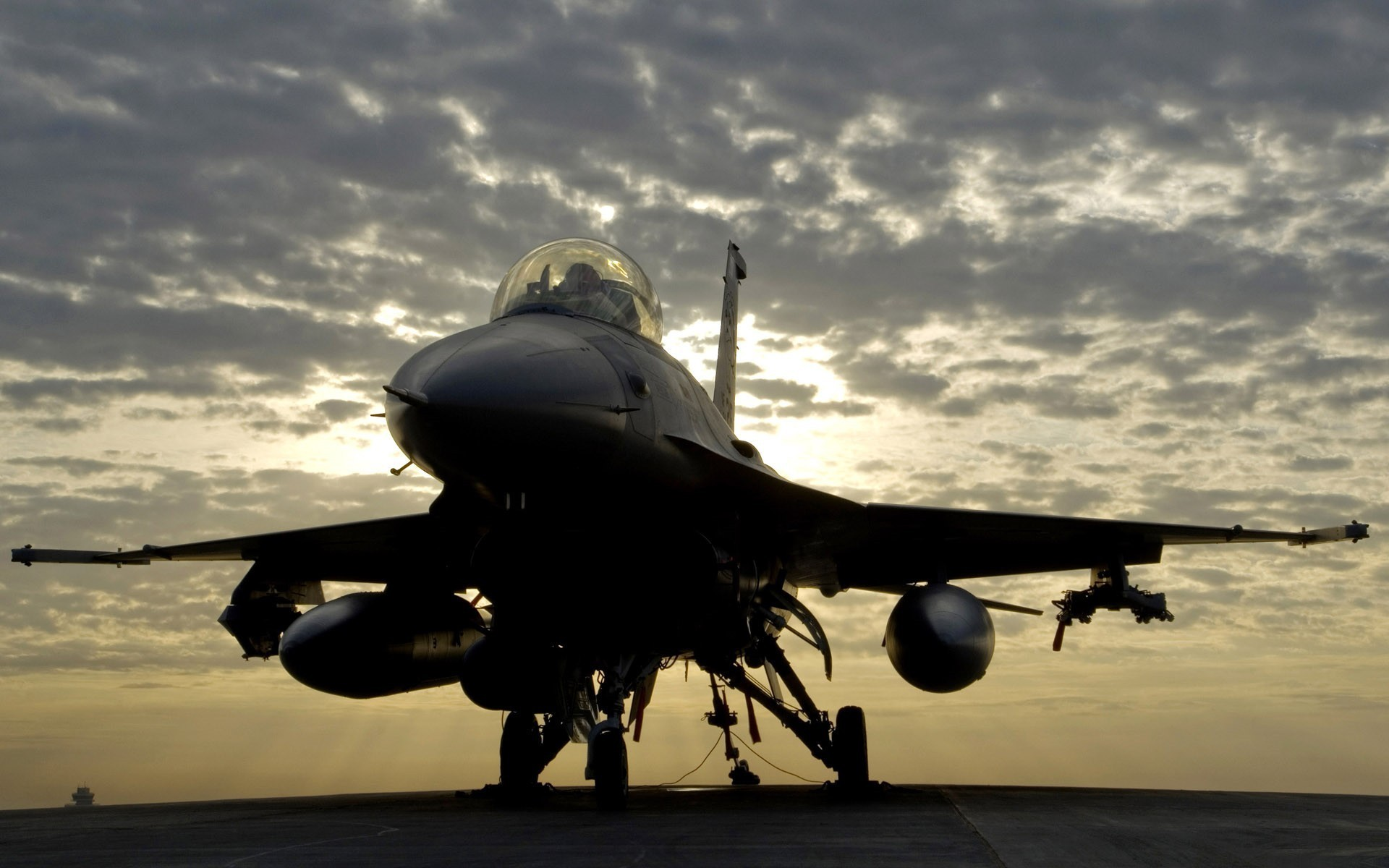 Wallpaper clouds, evening, F-16, Fighting Falcon, General Dynamics .
