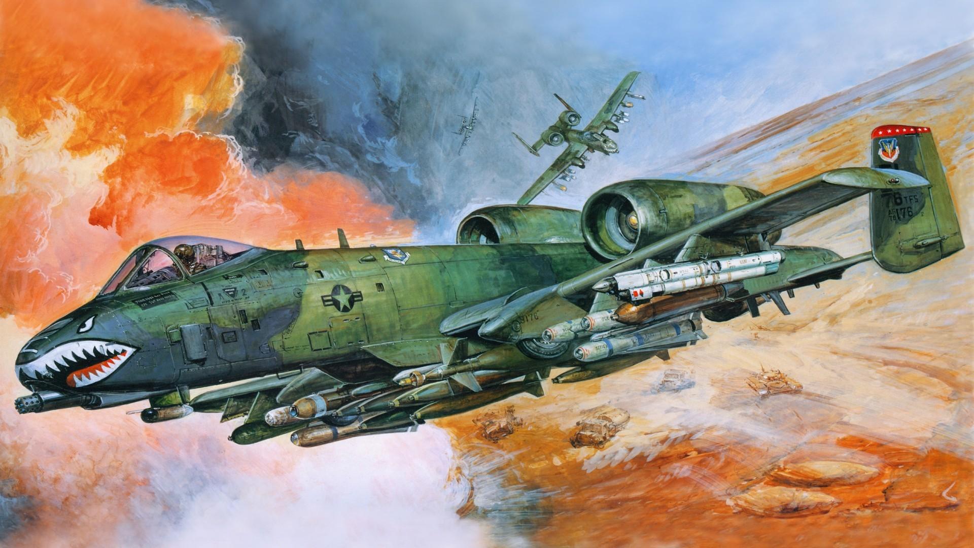 Airplane Painting Art Fighter Flight Aviation Wallpapers … Fairchild  Republic a 10 Thunderbolt …