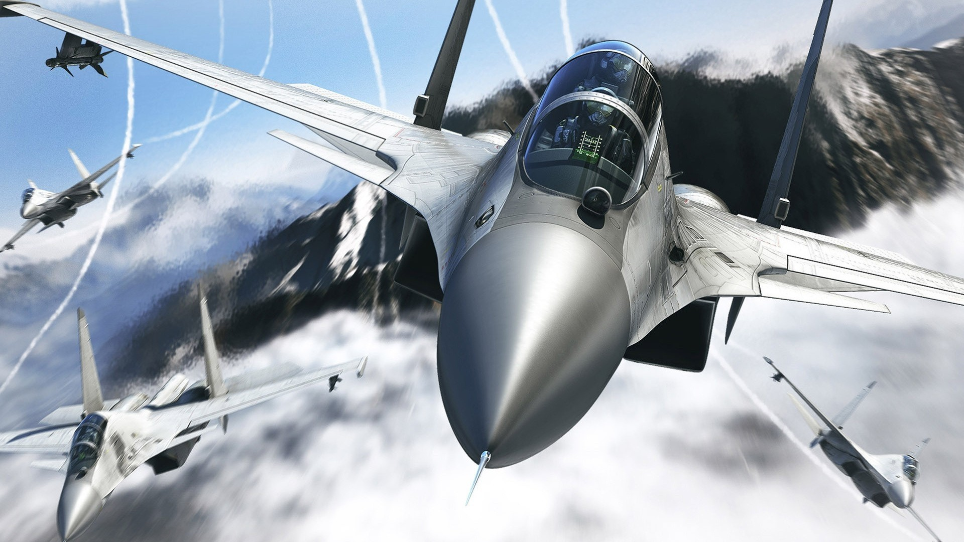 Aircraft Artwork Clouds Digital Art Fighter Jets Missiles Flanker free  iPhone or Android Full HD wallpaper.