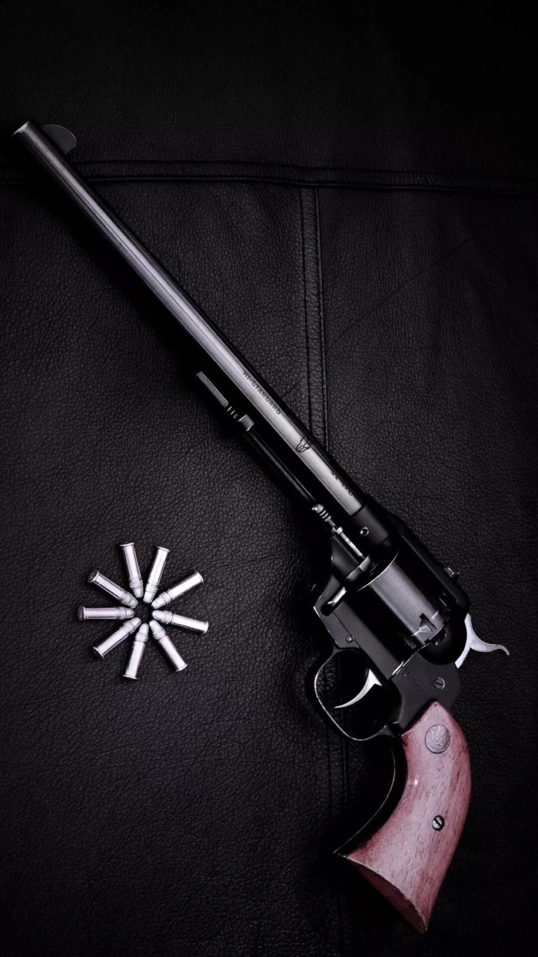 Revolver Gun Dark Background #iPhone #6 #wallpaper