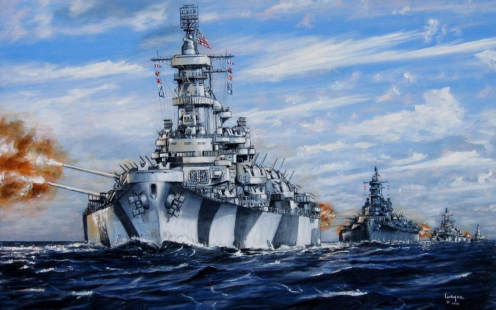 Wallpaper art, sea, build, battleships, u.s. navy, volleys, fire,