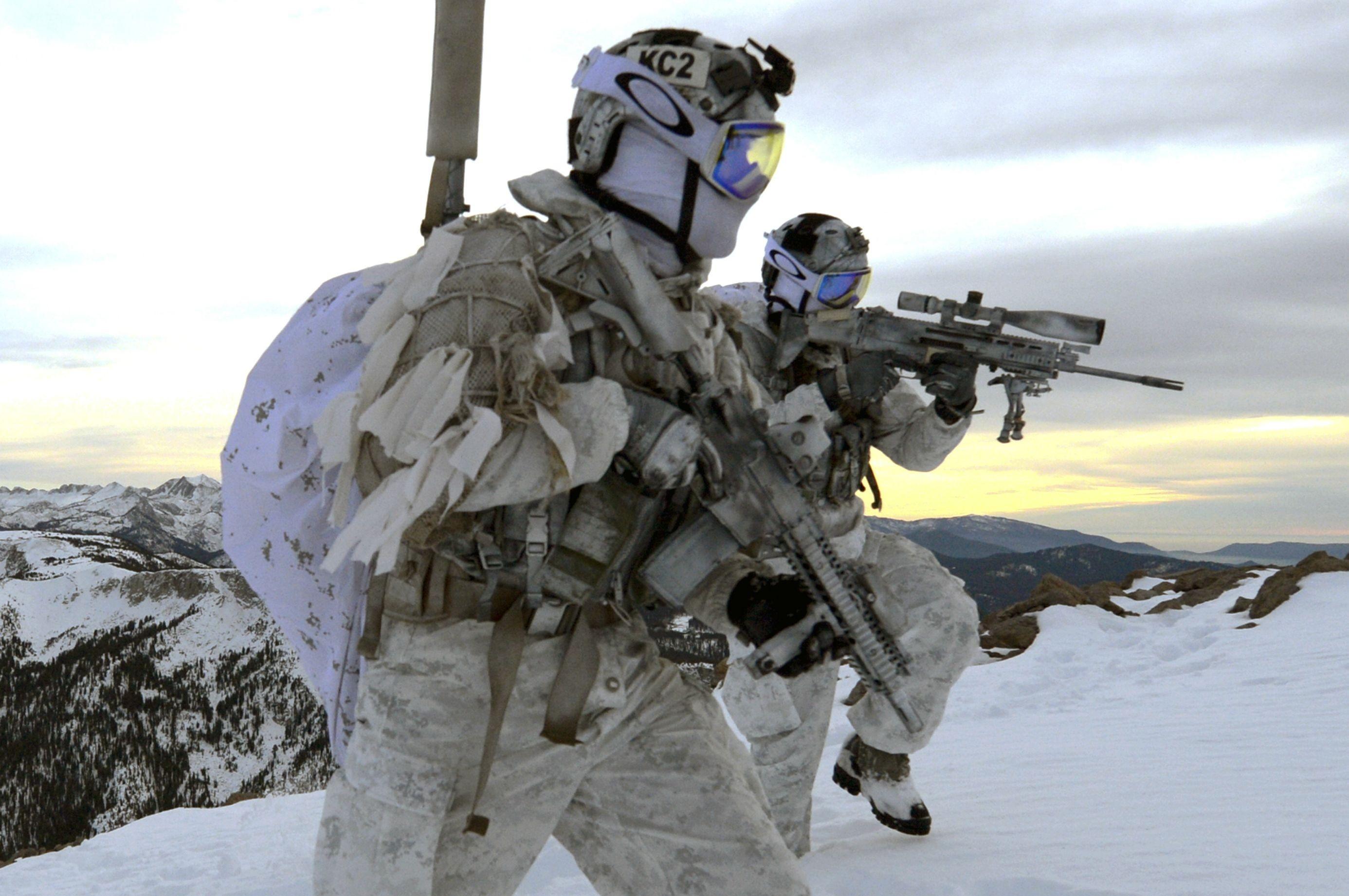 People military Navy SEALs winter snow Mk 18 Mod 0 FN SCAR