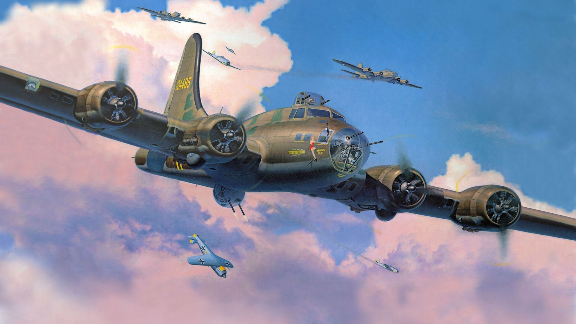 boeing b-17 flying fortress flying fortress bombers fighters interception  fw-190 picture