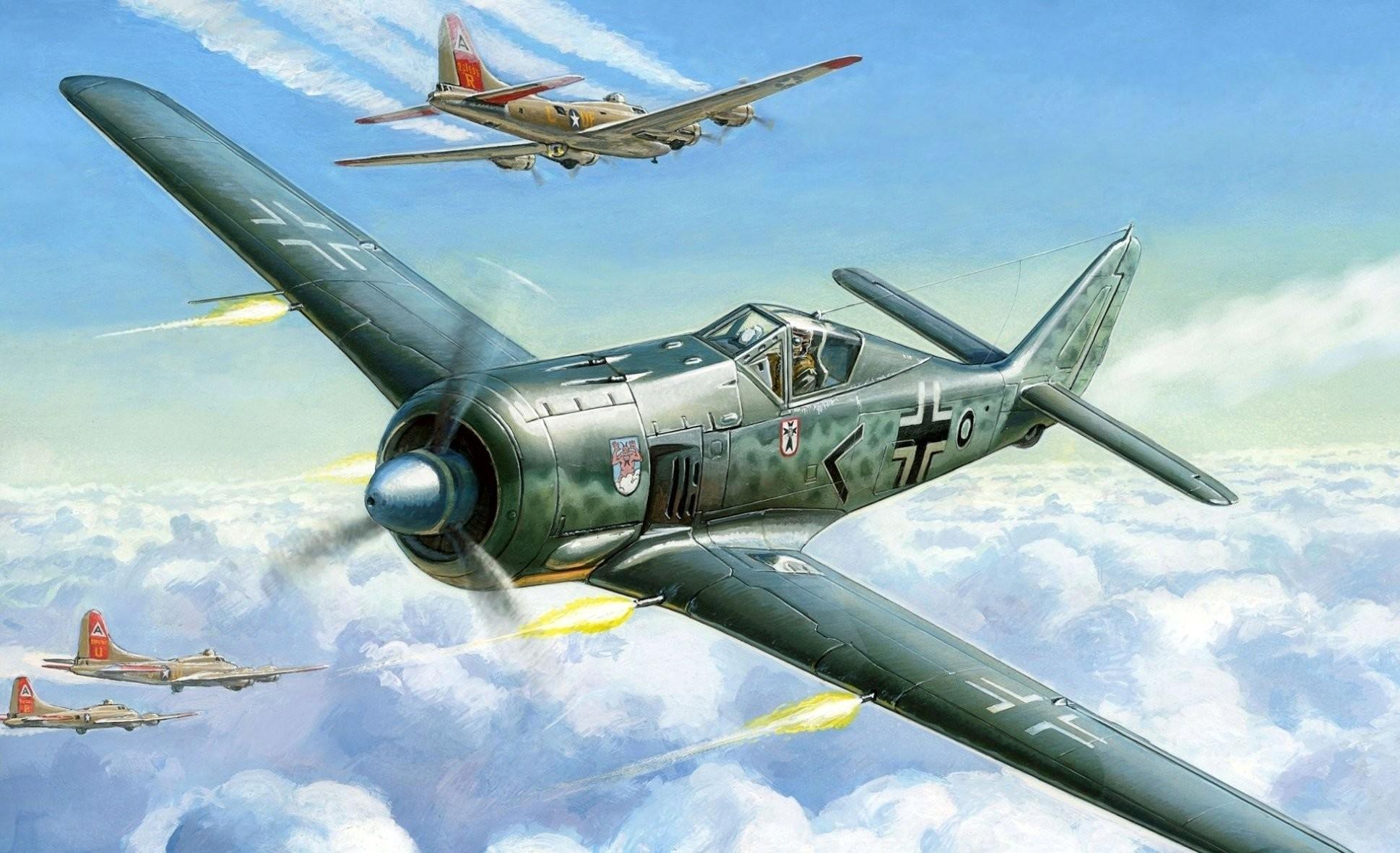 art sky focke-wulf fw-190 a-4 german fighter the boeing b