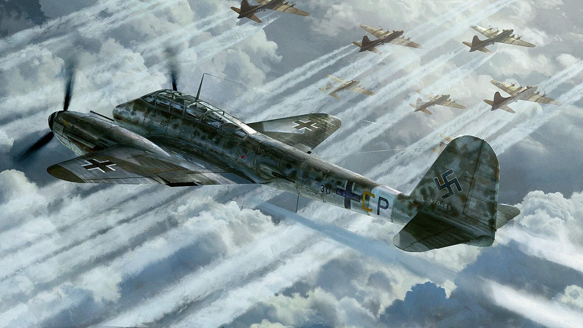 messerschmitt me.410 hornisse hornet german heavy fighter -bomber b -17  picture art