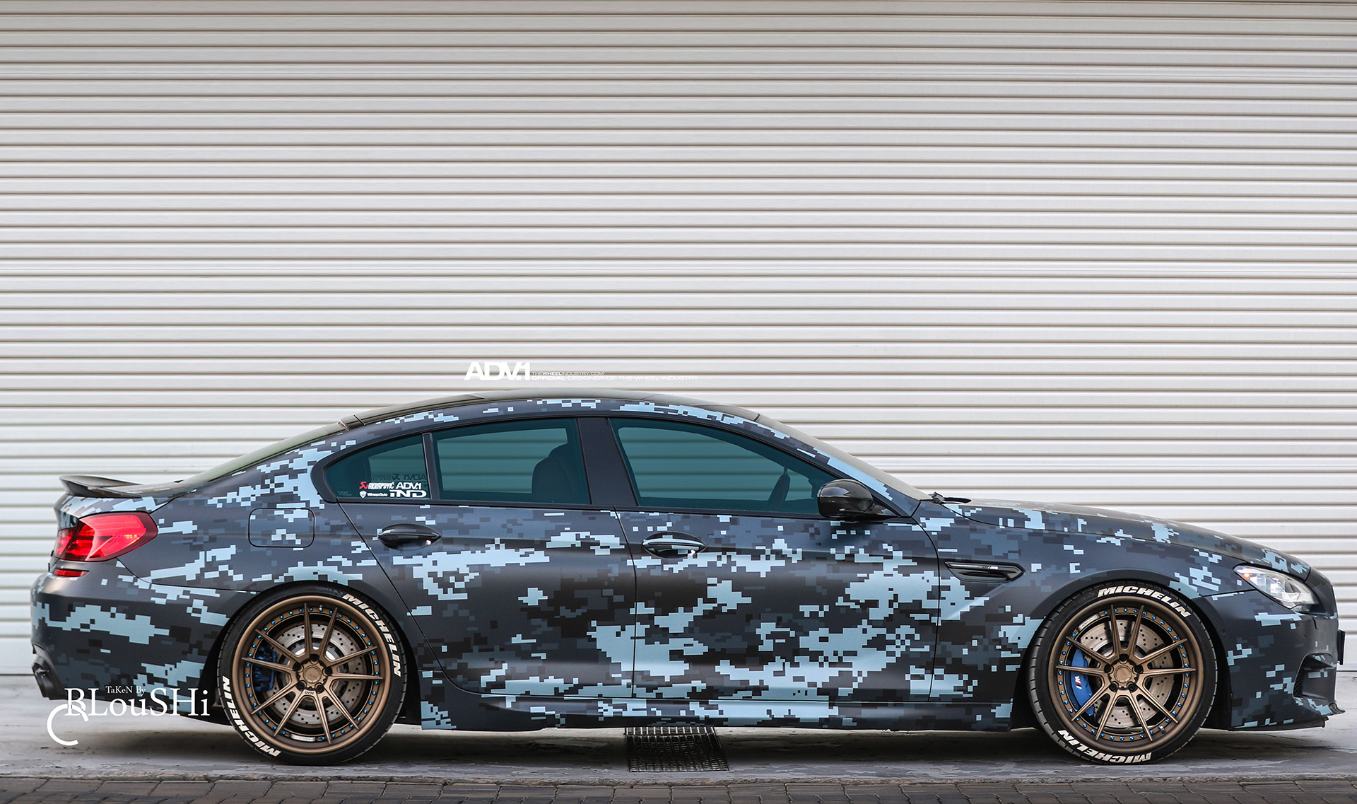 Blue Digital Camouflage Wrap BMW M6 Gran Coupe With ADV.1 Wheels Wallpaper