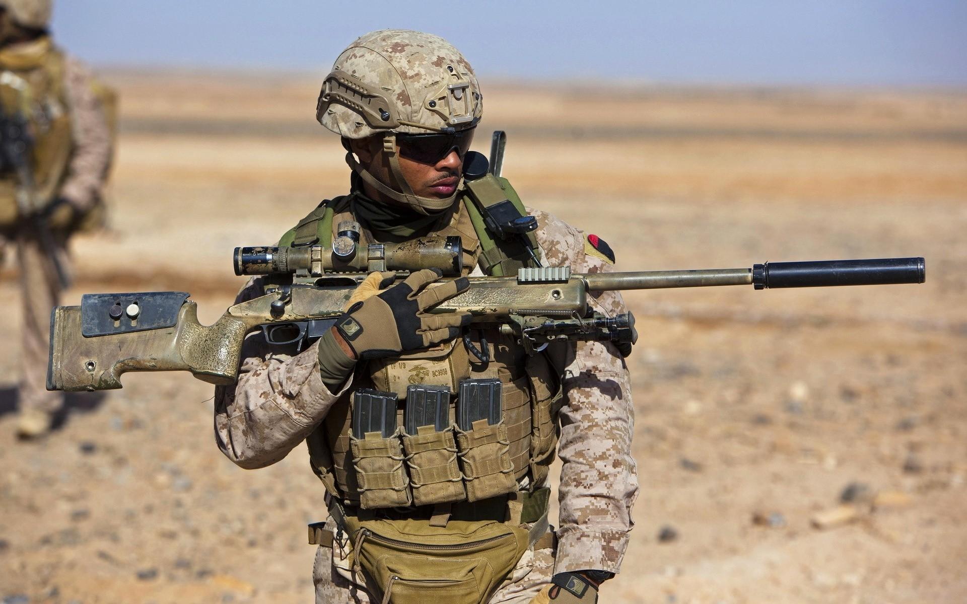 Wallpaper Оружие, United States Marine Corps, Солдат ..