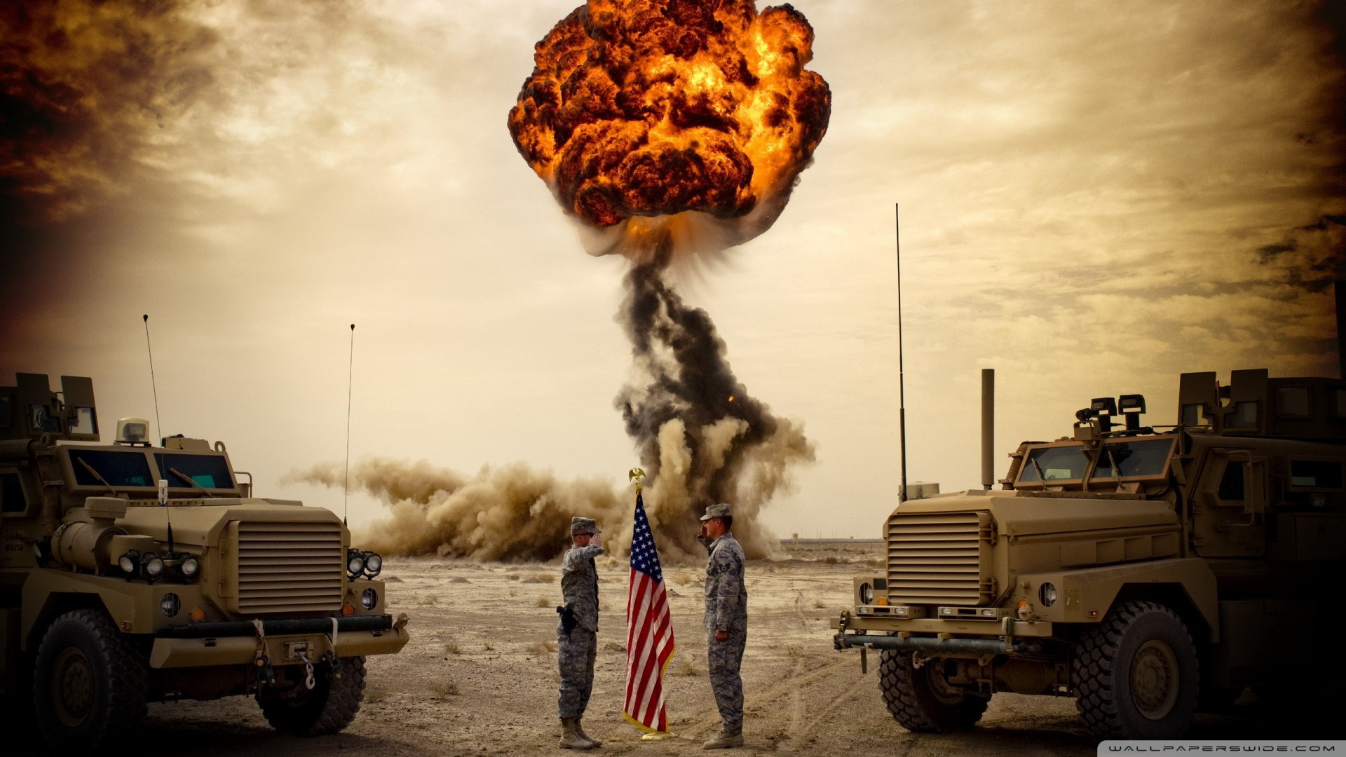 Most 'Murican wallpaper ever: Two soldiers saluting the American flag in  front of an explosion …