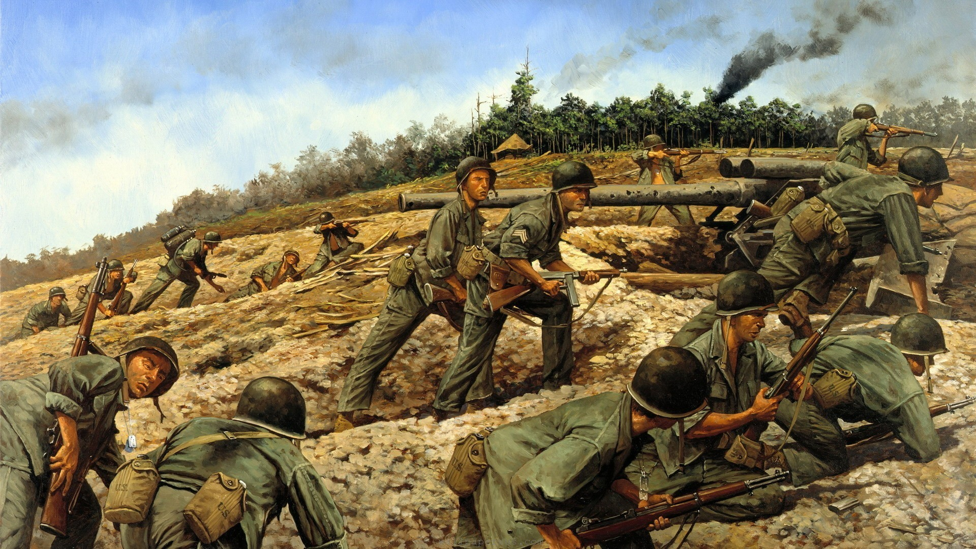 Smoke Soldiers War Sand Military Jungle Vietnam Artillery Wallpapers  Resolution : Filesize : kB, Added on August Tagged : smoke